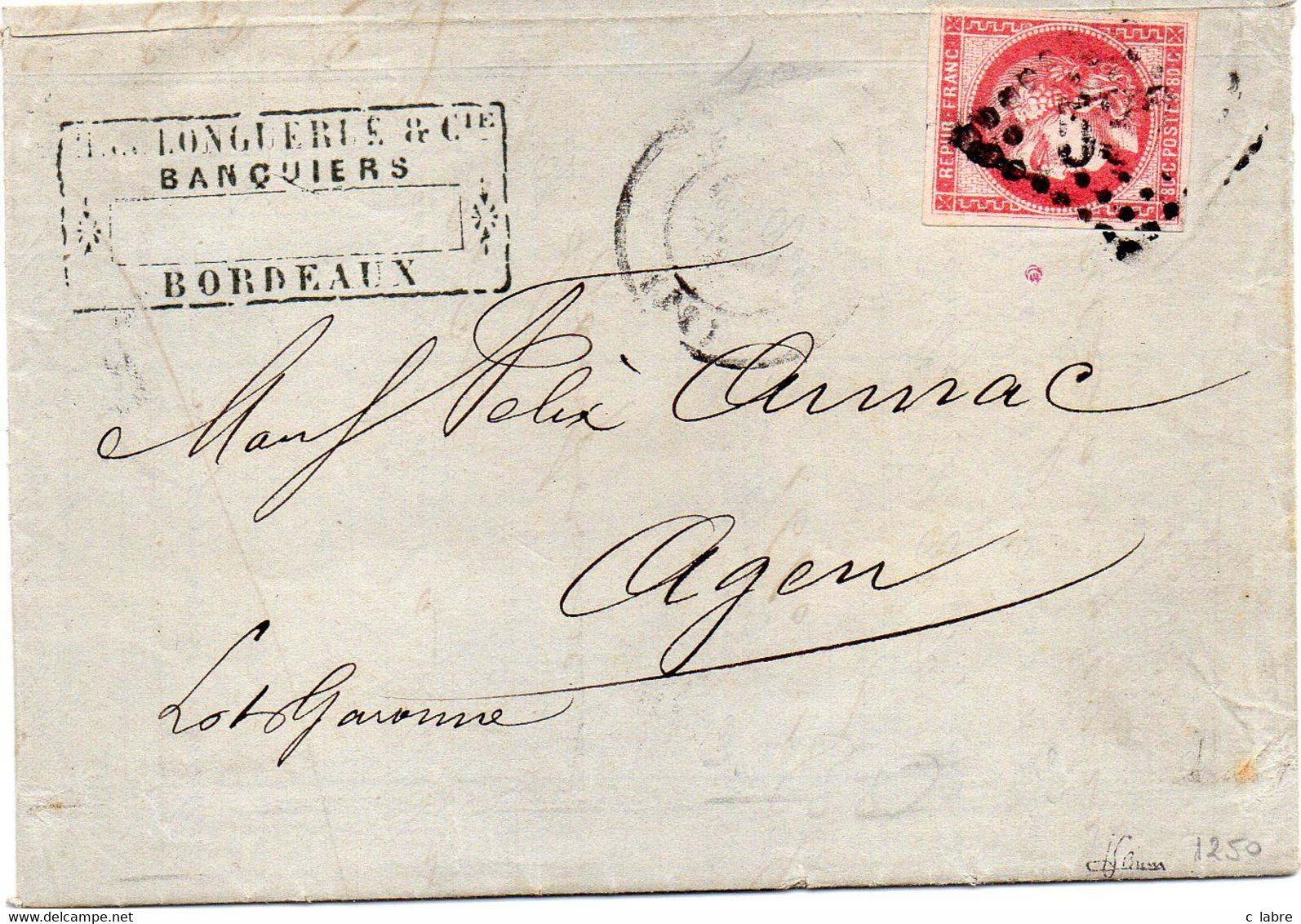 FRANCE : N° 49 . SEUL SUR LETTRE . OBL .GC 532 . BORDEAUX . POUR AGEN . 1871 . SIGNE BRUN . - 1849-1876: Classic Period