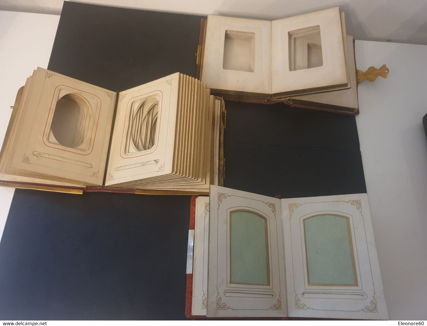 Rares Lot De 3 Albums Années 1880 10/7cm Pour Photos Cdv. 11. 21. 15 Pages. Bords Dorés. Vente à L Unité Possible - Old (before 1900)