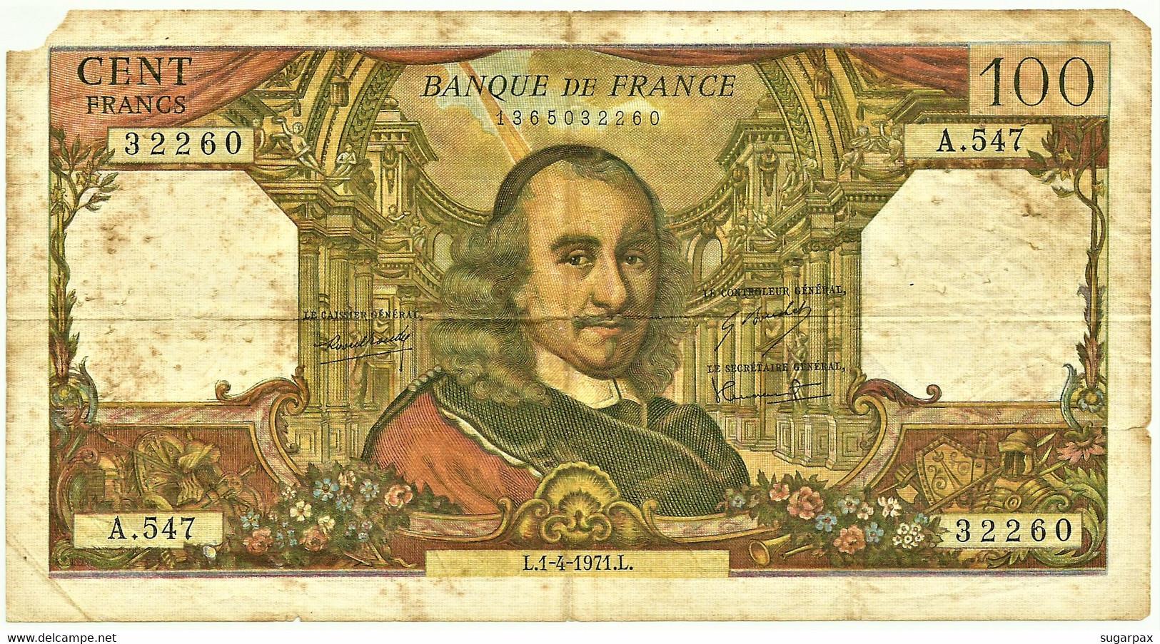 FRANCE - 100 Francs - 1.4.1971 - P 149.c - Serie A.547 - Pierre Corneille - 100 F 1964-1979 ''Corneille''