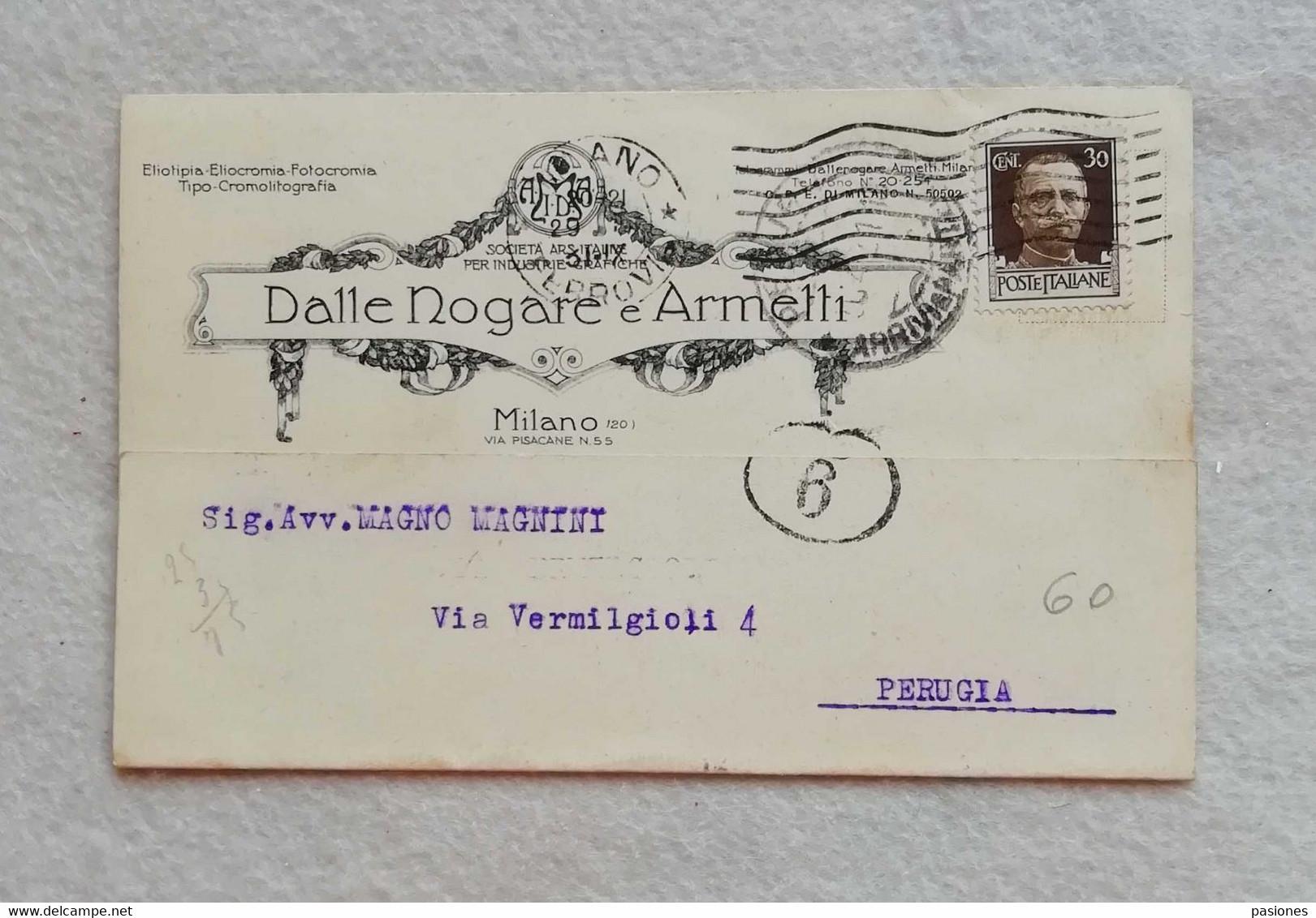 """Cartolina Postale Pubblicitaria """"Dalle Nogare E Armelli"""" Milano Industrie Grafiche, Viaggiata 1931 - Publicidad"""