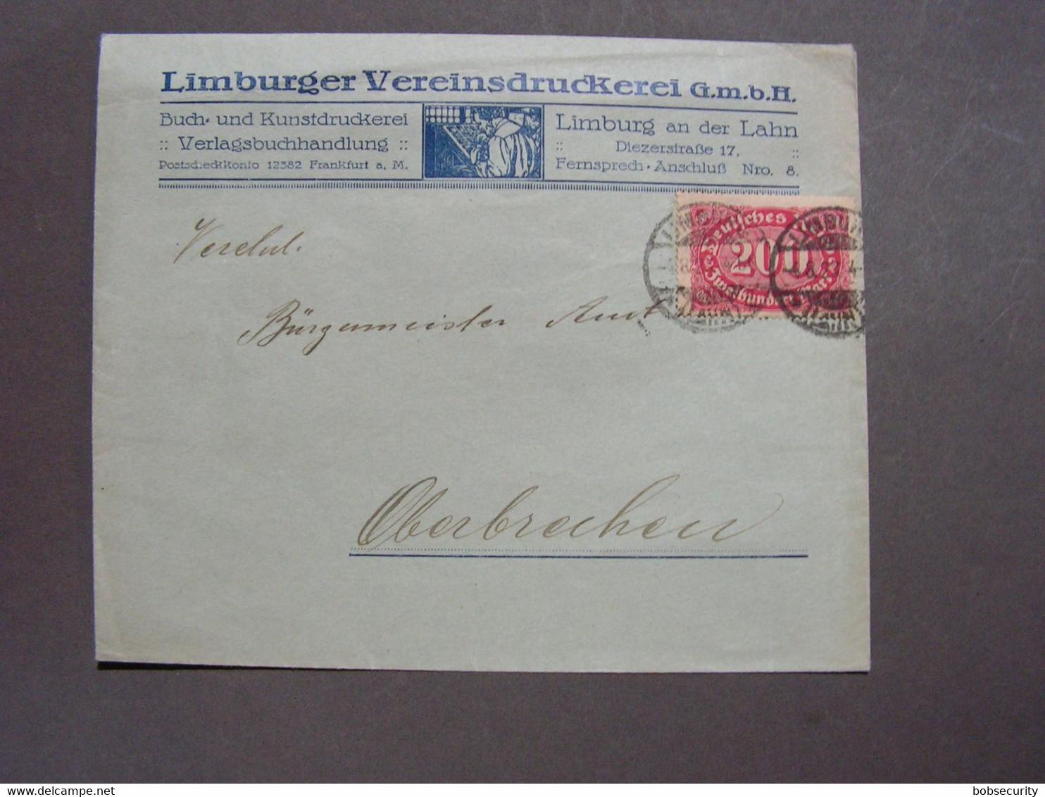 DR Limburg , Reklame 1923 - Cartas