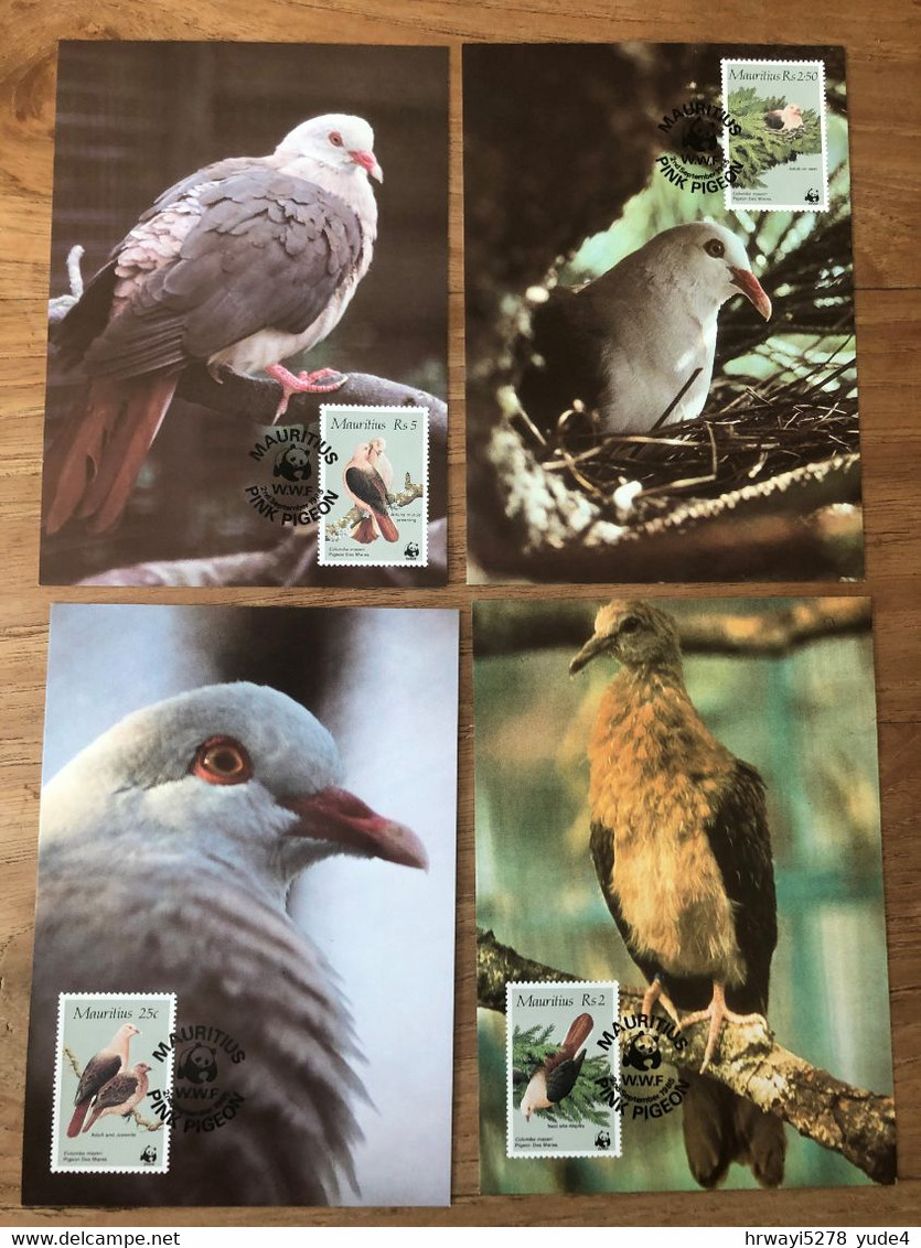 Mauritius 1985, Birds WWF, Complete Set On 4 Cards. Cv Stamps Is 20 Euro - Maurice (1968-...)