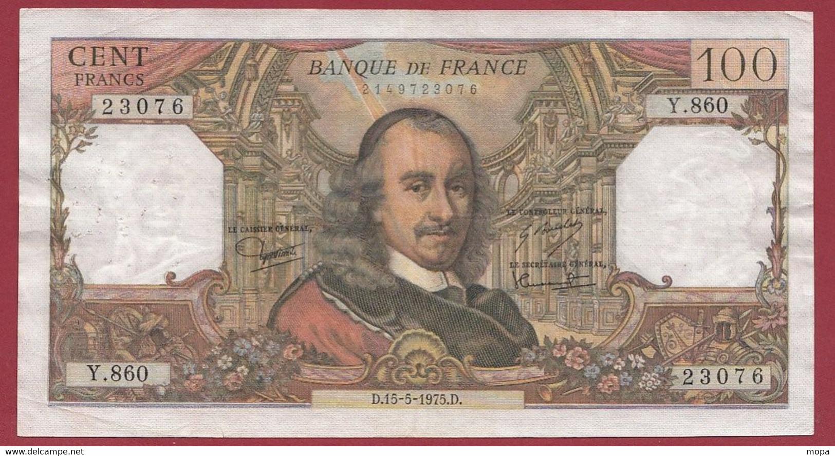 """100 Francs """"Corneille"""" Du 15/05/1975.D -----ALPH .Y.860---dans L 'état - 100 F 1964-1979 ''Corneille''"""