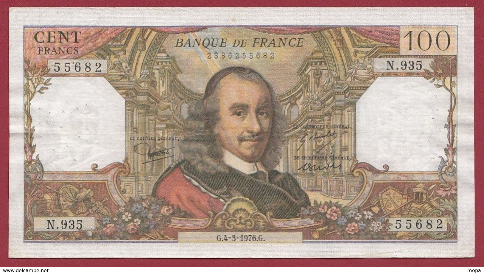 """100 Francs """"Corneille"""" Du 04/03/1976.G -----ALPH .N.935---dans L 'état - 100 F 1964-1979 ''Corneille''"""