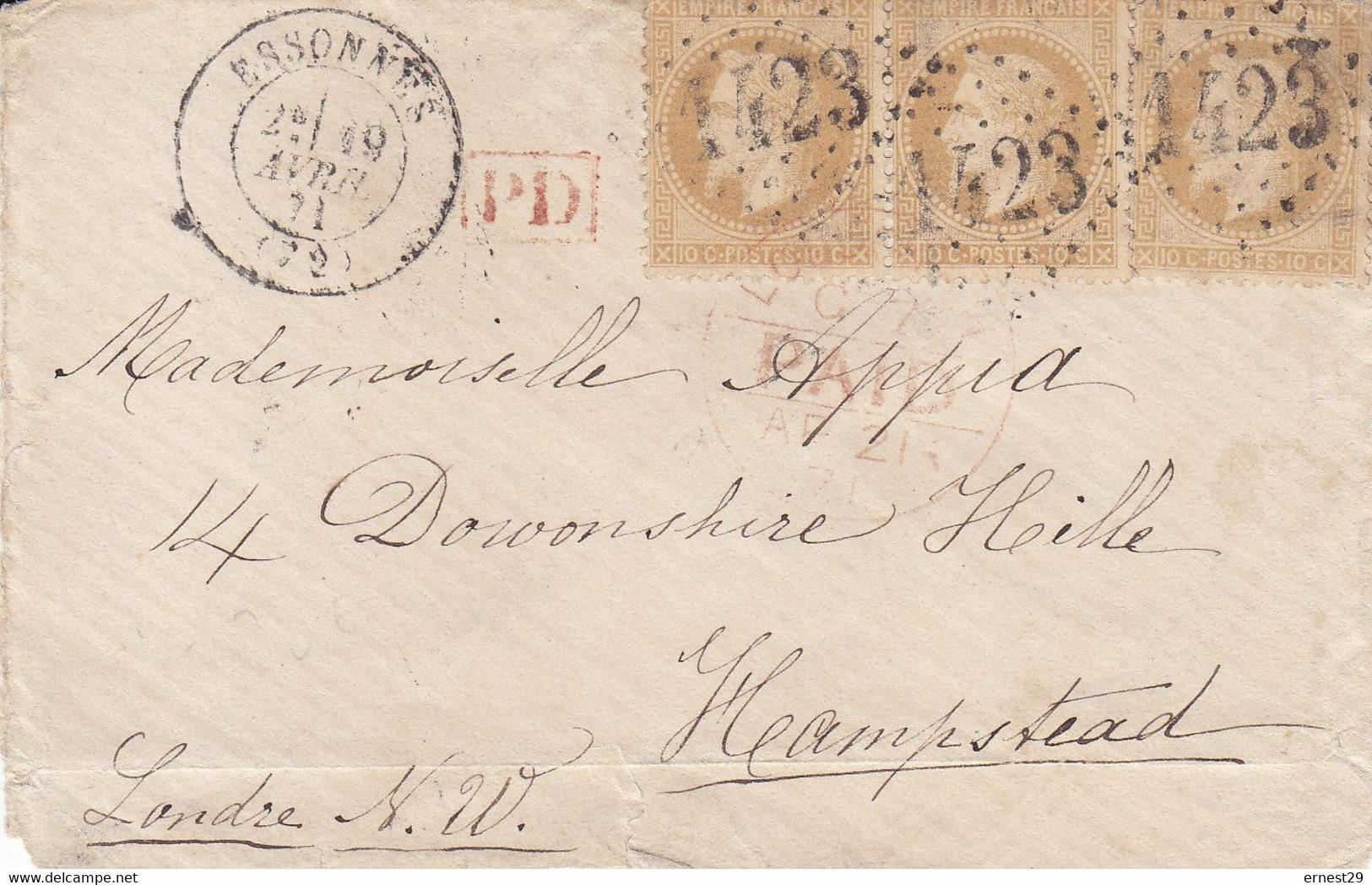 Guerre De 1870 Commune Lettre Sc Du 19 Avril 1871 Postée à Essonnes  Pour Londres Tad D'arrivée - 1849-1876: Période Classique