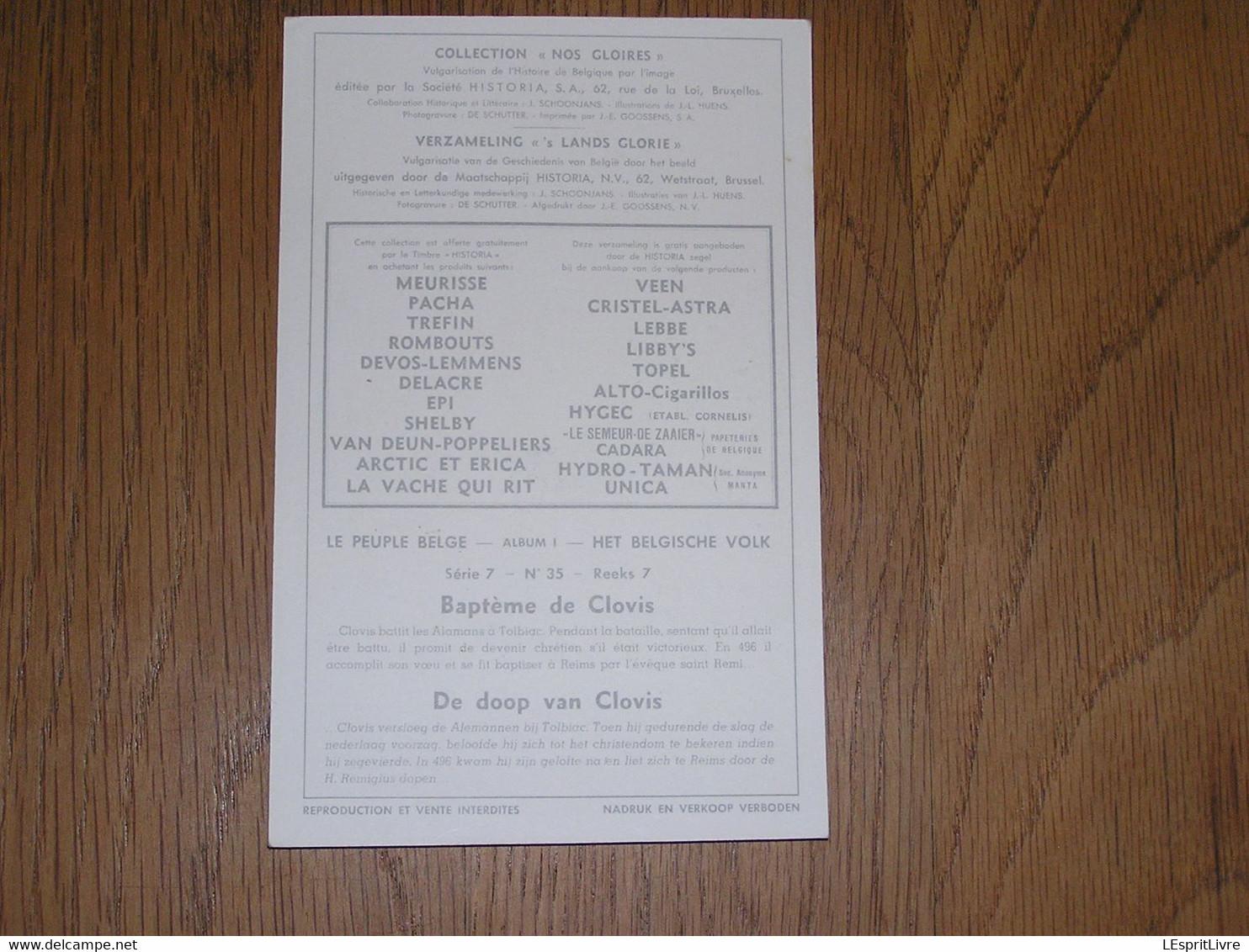 Le Peuple Belge Chromo N° 35 Baptême De Clovis Moyen Age Huens Collection Nos Gloires Histoire Chromos Trading Card - Artis Historia