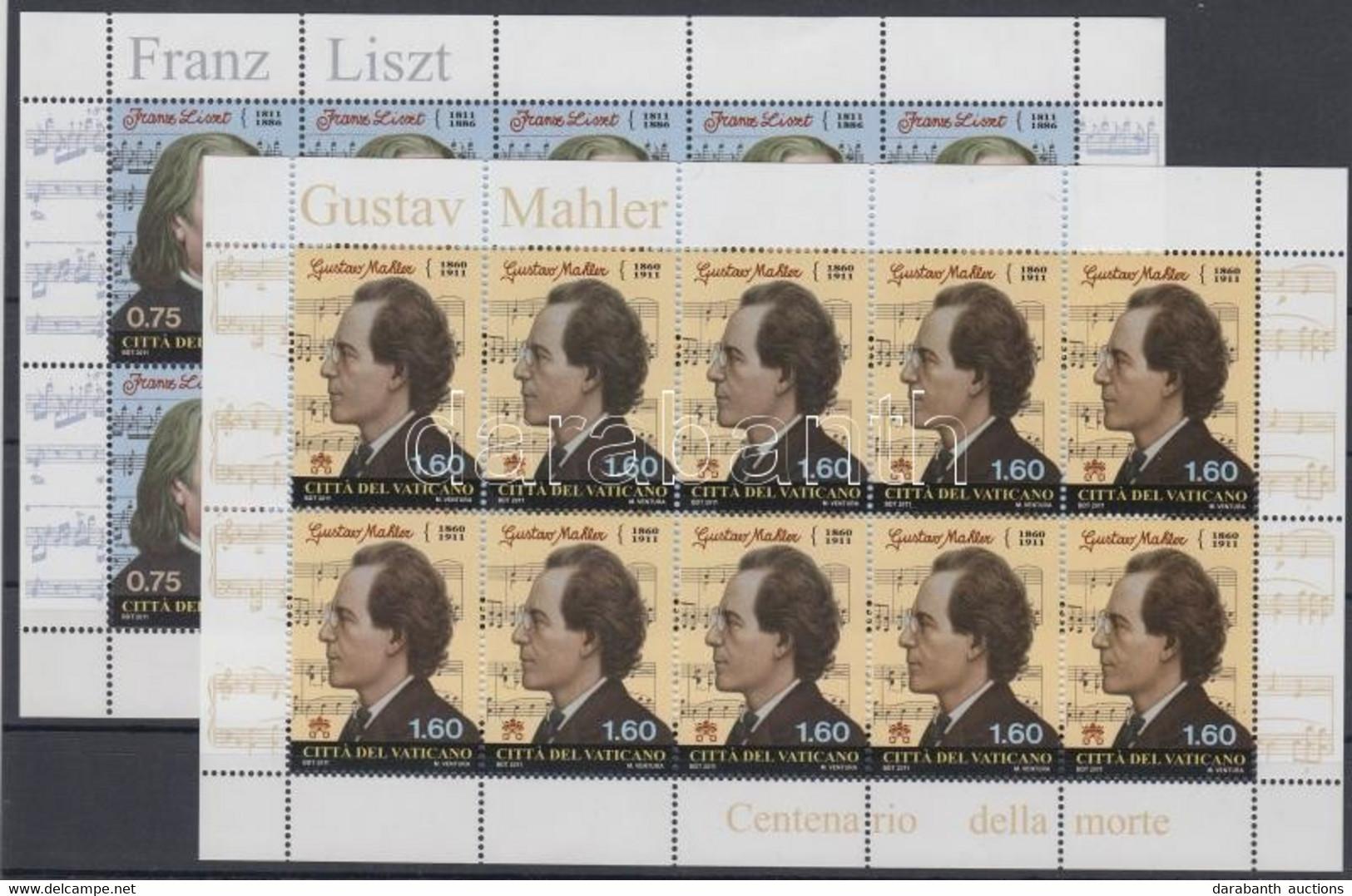 ** 2011 Liszt Ferenc és Gustav Mahler Kisívpár Mi 1726-1727 - Non Classés