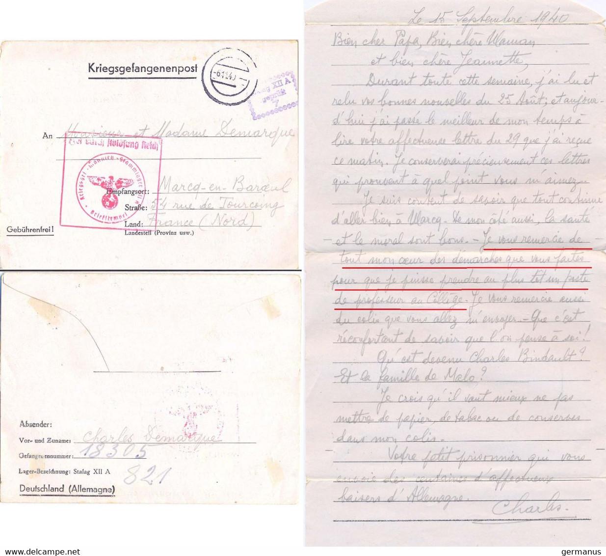 GUERRE 39-45 COR. D'un PRISONNIER Au STALAG XII A /7 LIMBURG AN DER LAHN, Le 15-9-1940 Pense Prendre Un Poste De Prof … - Guerra De 1939-45