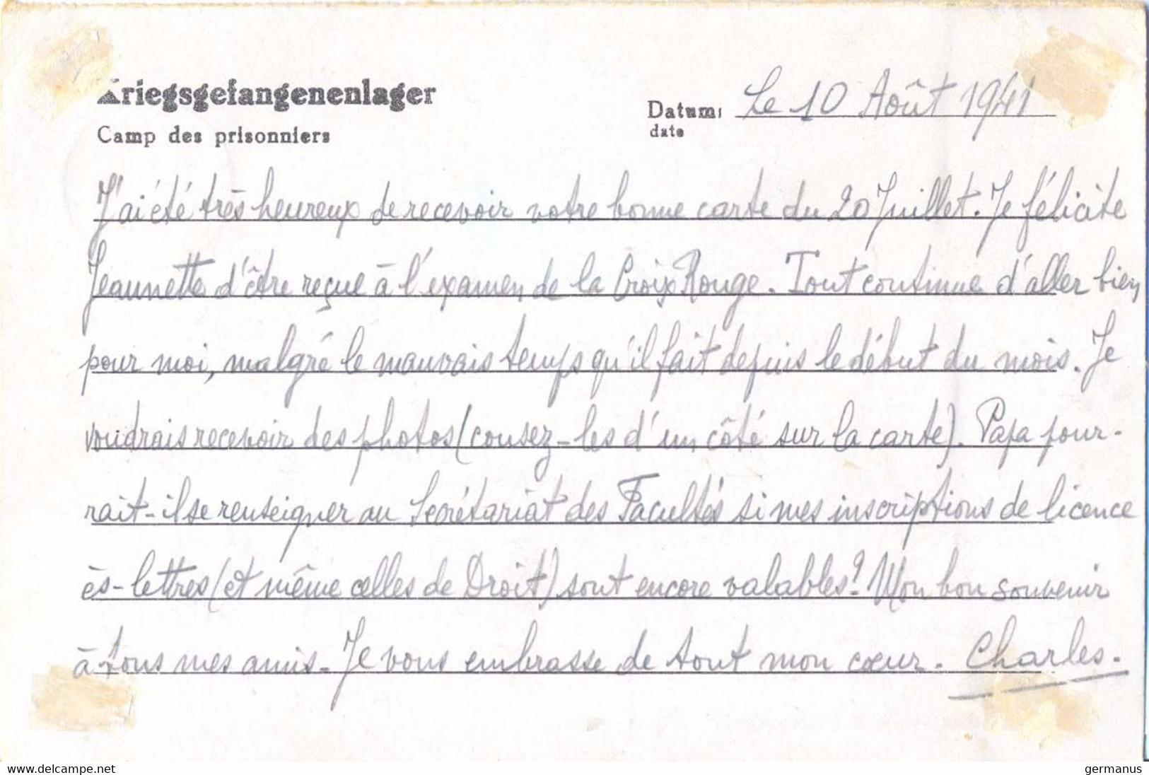 GUERRE 39-45 COR.PRISONNIER DE GUERRE FRANÇAIS Au Stalag XII A /21 B LIMBURG AN DER LAHN – Rédigé Le 10-8-1941 - Guerra De 1939-45