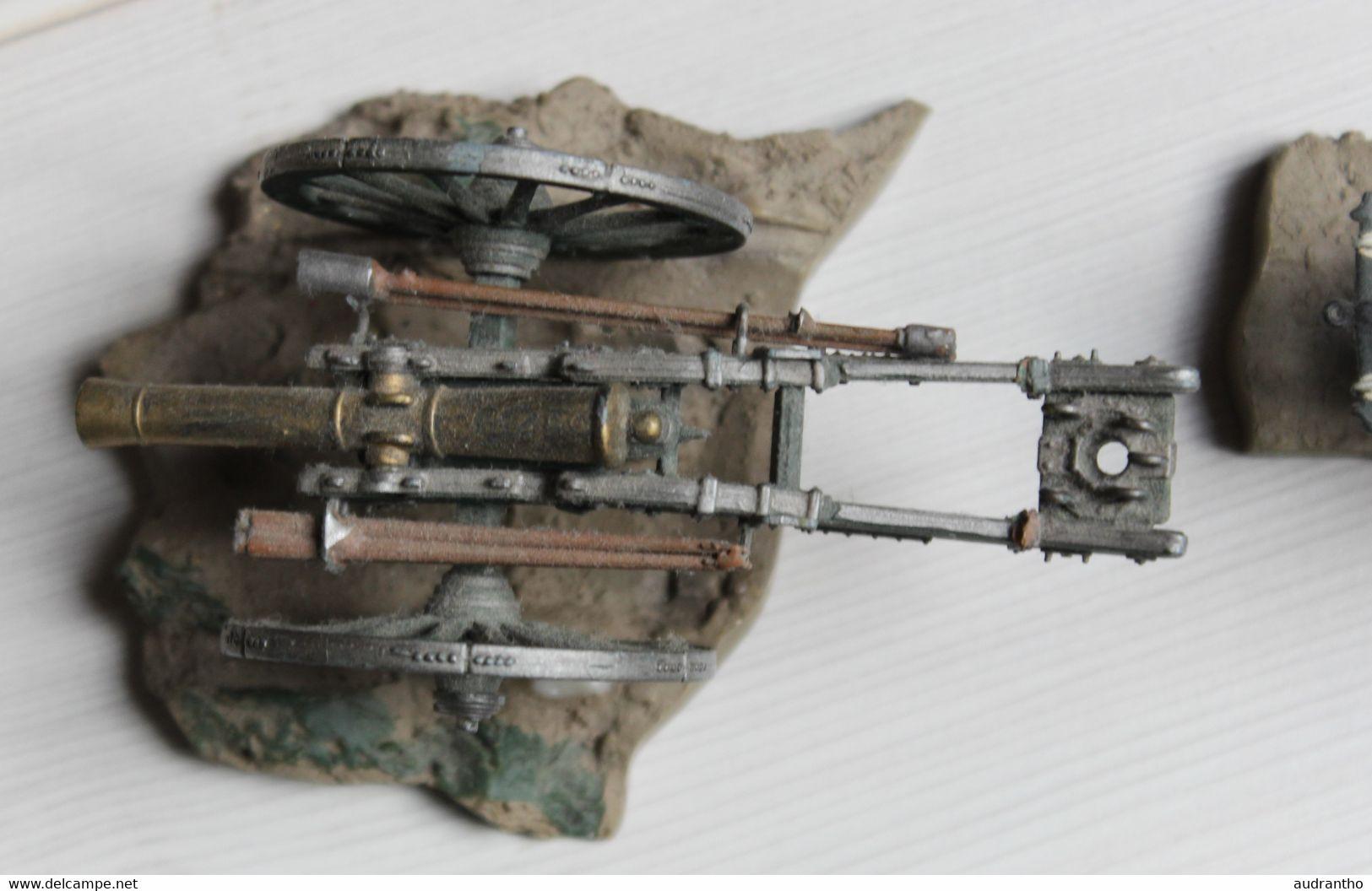 Bel Ensemble Soldat De Plomb Cavalier Canon Cheval - Tin Soldiers