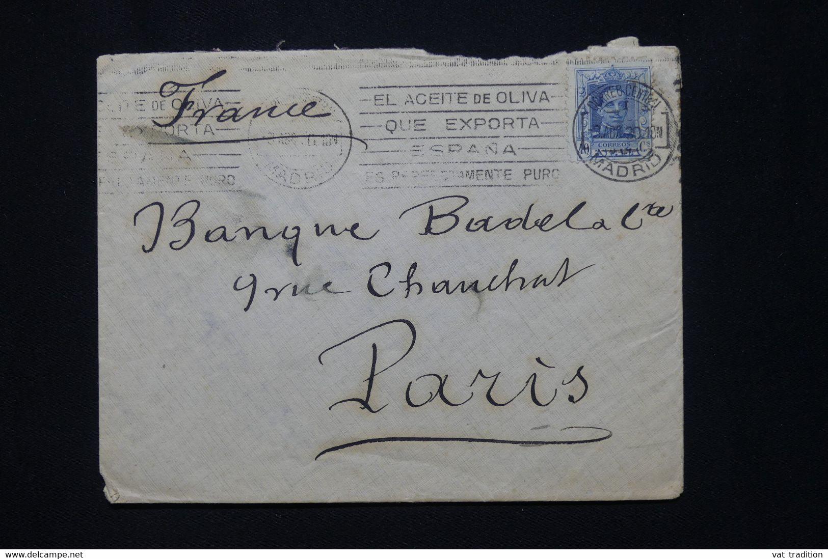 ESPAGNE - Enveloppe De Madrid Pour La France En 1930 - L 79821 - Covers & Documents