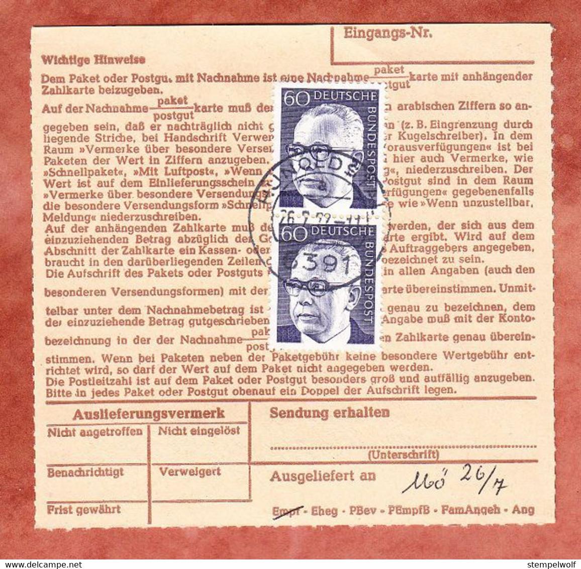 Nachnahmepaketkartenteil, Heinemann, Nuernberg Nach Hunoldstal 1972 (488) - Briefe U. Dokumente