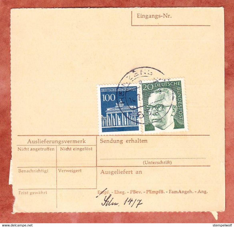 Nachnahmepaketkartenteil, Heinemann + Brandenburger Tor Berlin, Nuernberg Nach Heinzenberg 1972 (512) - Covers & Documents