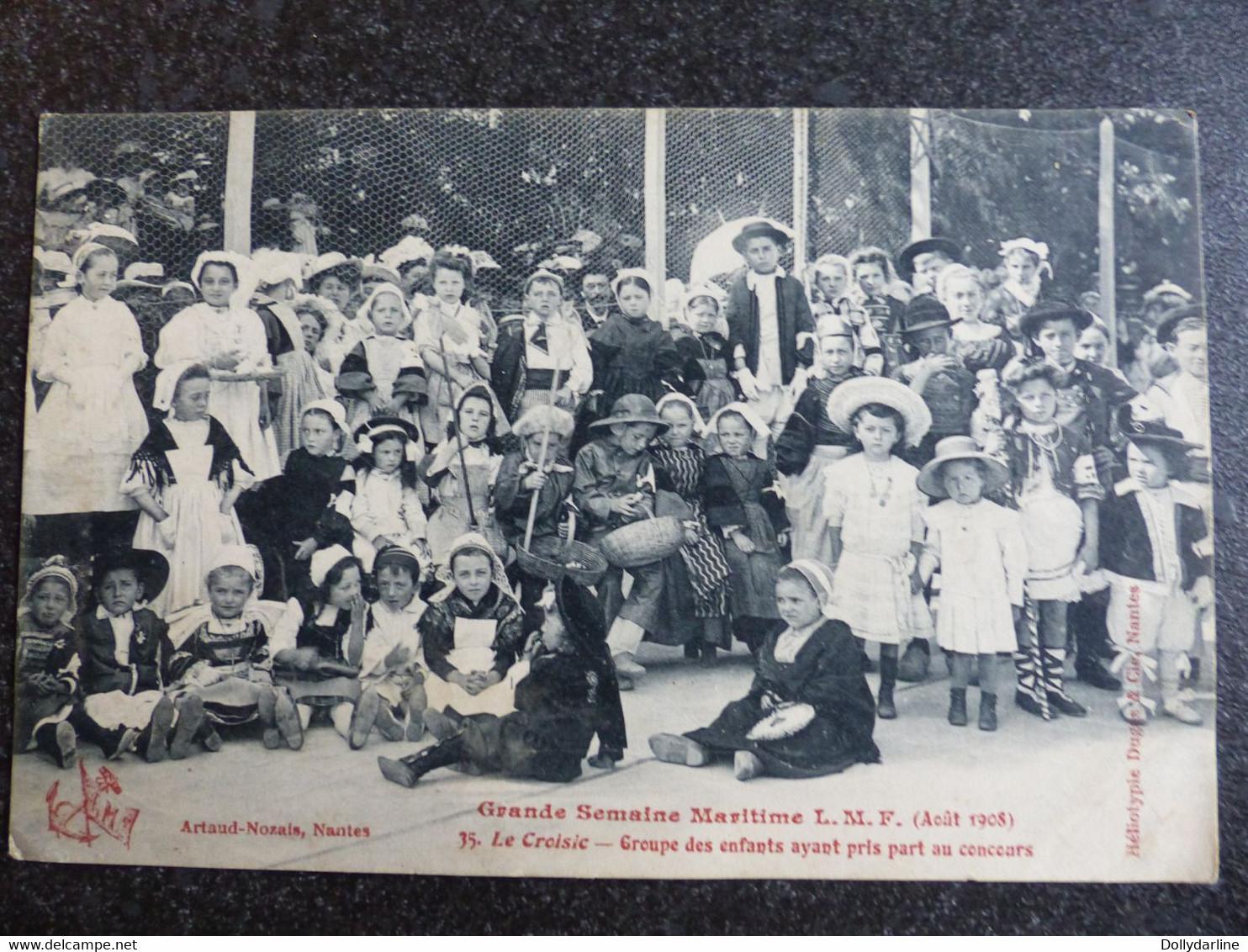CPA Grande Semaine Maritime L.M.F. Aout 1908 Le CROISIC 44 Loire Atlantique Groupe Des Enfants Ayant Pris Part Au Concou - Sin Clasificación