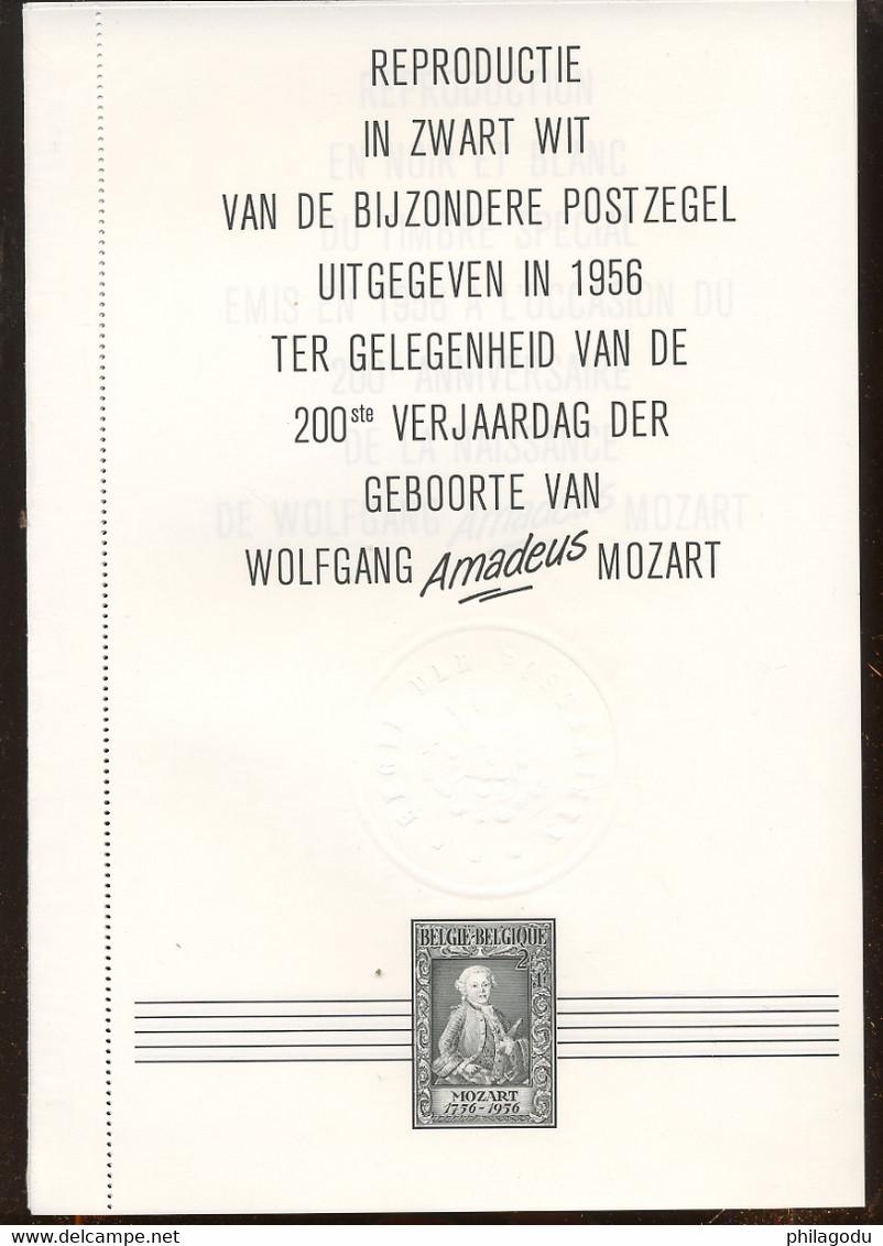 Joli Feuillet édité Par La Poste. W.AQ. Mozart. Timbre De 1955.  (988) - Zwarte/witte Blaadjes