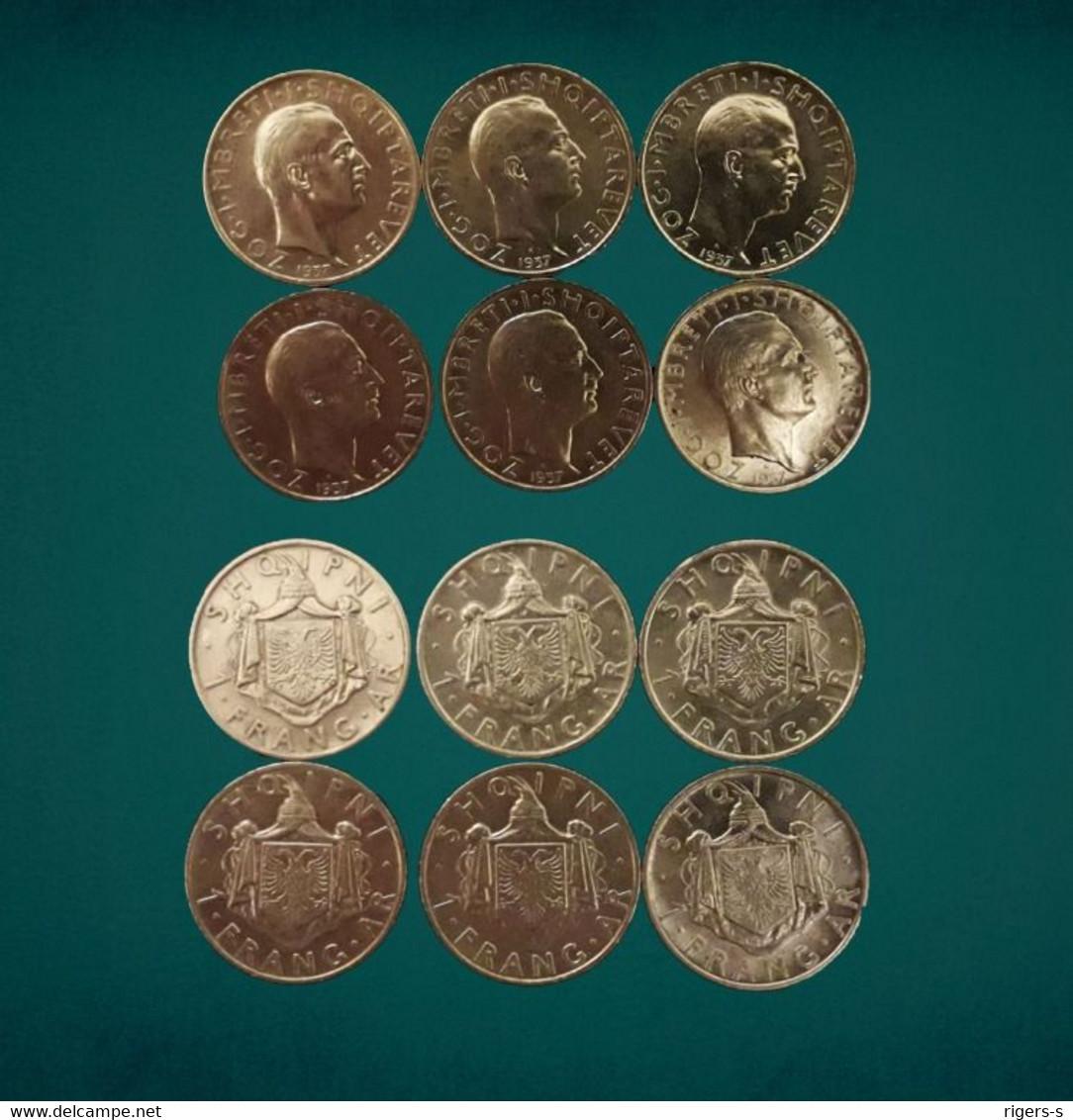 Albania 1 Frang Ar 1937 KING ZOG I - XF-AUNC Condition KM#16 Lower Mintage Than Year 1935  (1 Piece) - Albania