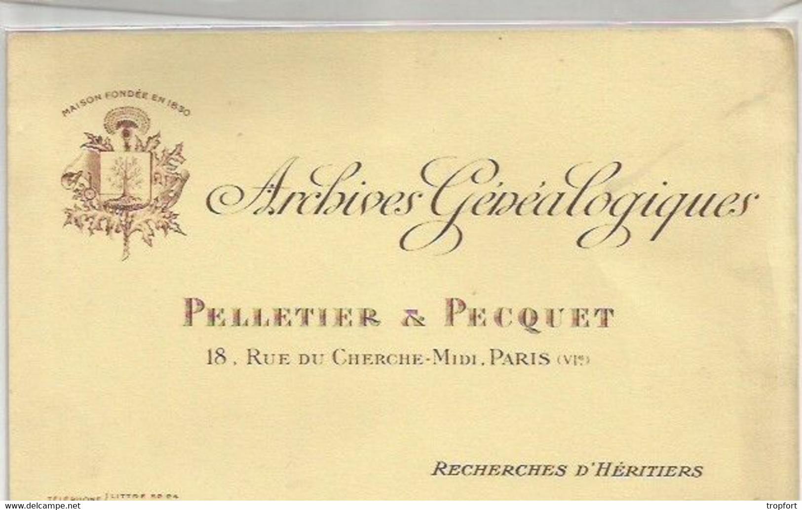 CK //  Old French Blotter  // BUVARD ARCHIVES GENEALOGIQUES  Pelletier Et Pecquet PARIS Généalogie - G