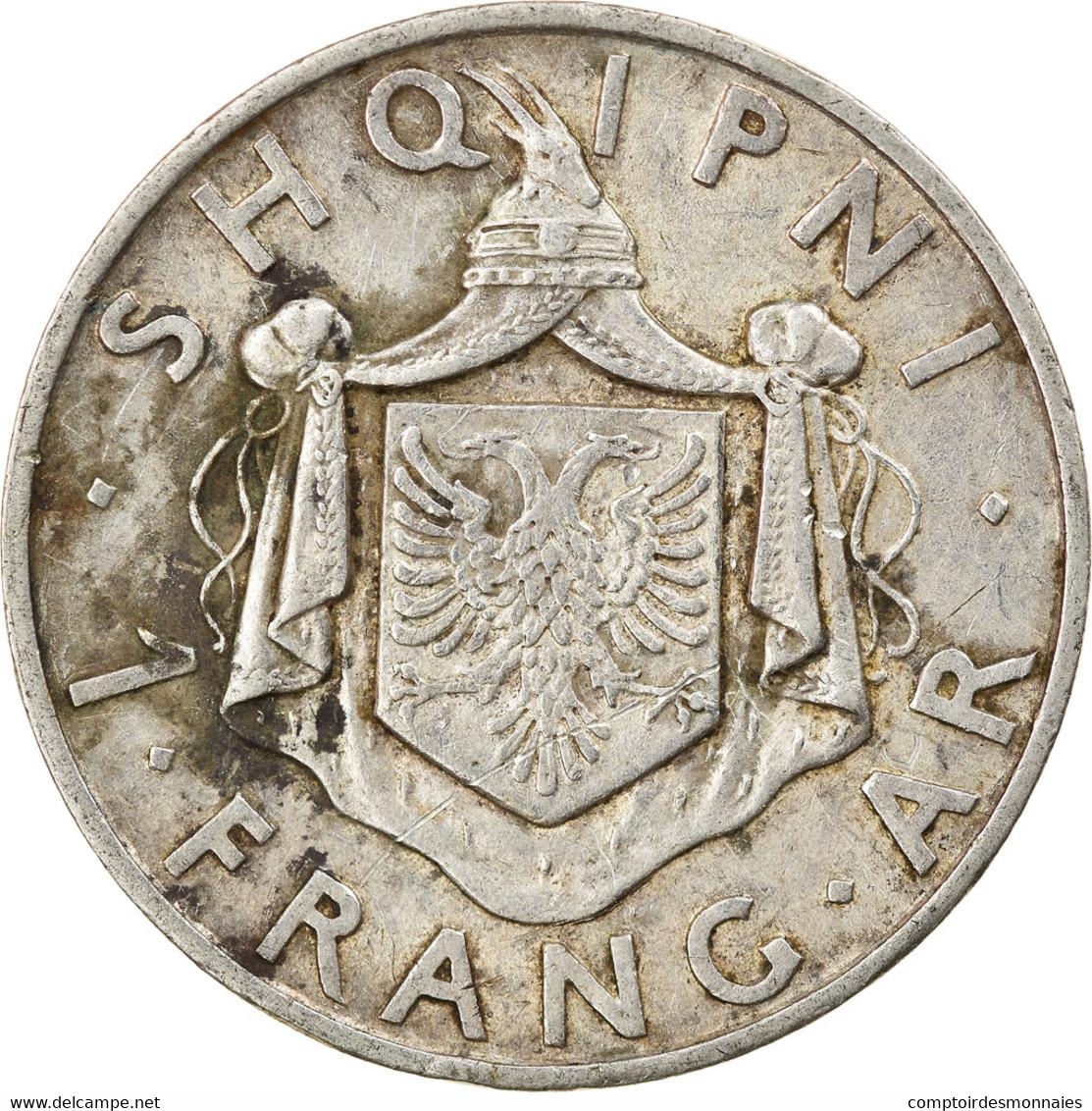 Monnaie, Albania, Zog I, Frang Ar, 1937, Rome, TTB, Argent, KM:18 - Albania