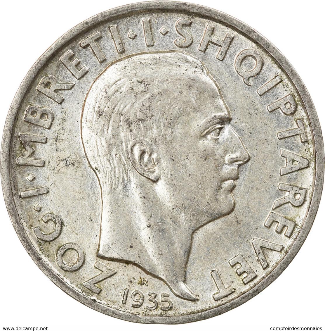 Monnaie, Albania, Zog I, Frang Ar, 1935, Rome, SUP, Argent, KM:16 - Albania