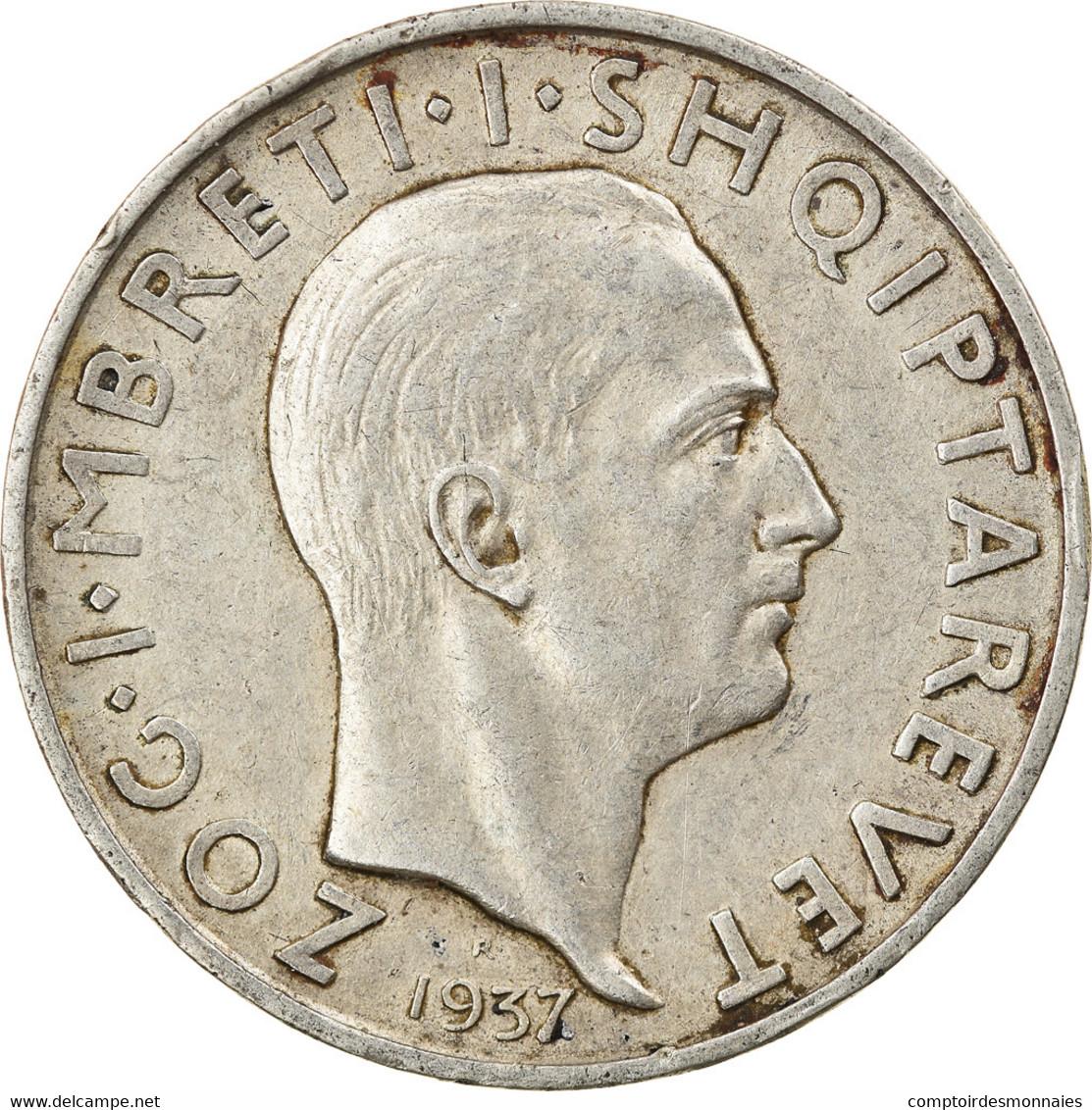 Monnaie, Albania, Zog I, Frang Ar, 1937, Rome, TTB+, Argent, KM:18 - Albania