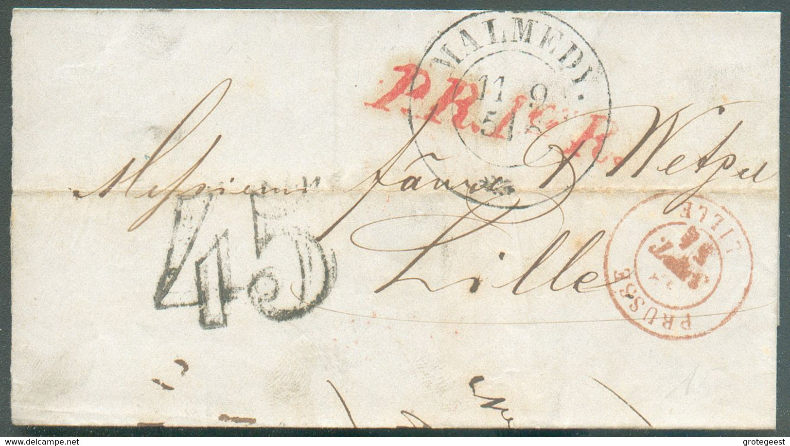 LSC De MALMEDYle 11.9.1851 + Griffe Rouge P.R.1er.R.vers Lille ; Taxée '45' Kr. (au Tampon). -TB- 16595 - 1830-1849 (Unabhängiges Belgien)