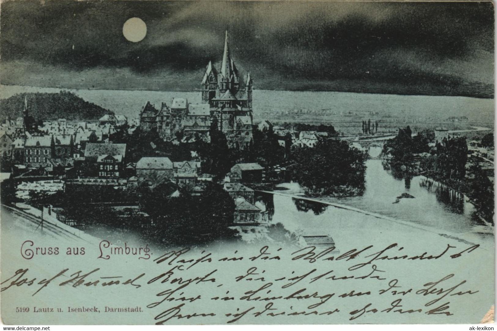 Ansichtskarte Limburg (Lahn) Stadt, Mondscheinlitho Gel. Limburg Bahnhof 1899 - Limburg
