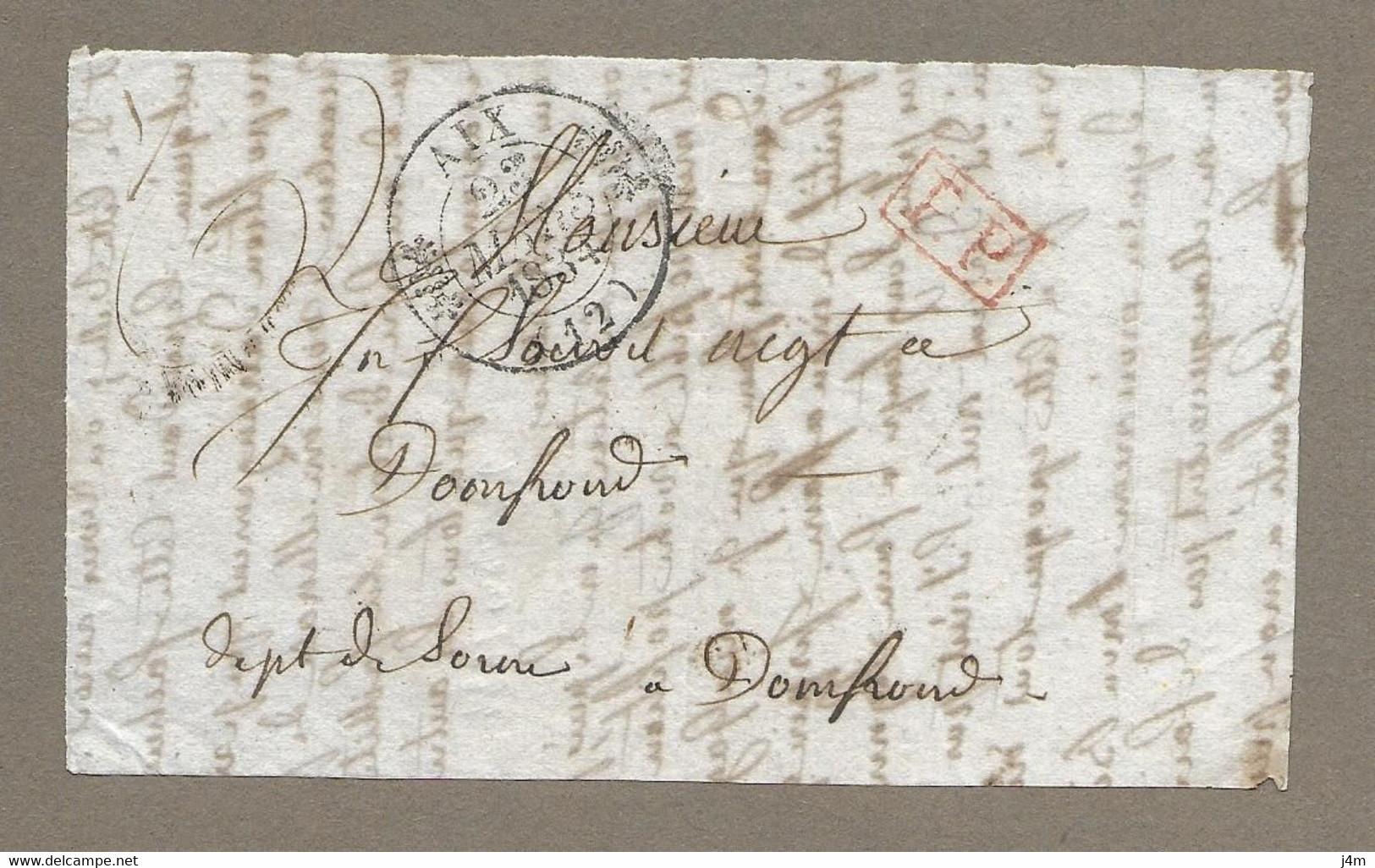 MARCOPHILIE.. PRECURSEUR XIXe ..Fragment De Lettre Du 23 Mars 1834.. Cachet 12 AIX Port Payé - 1801-1848: Precursors XIX