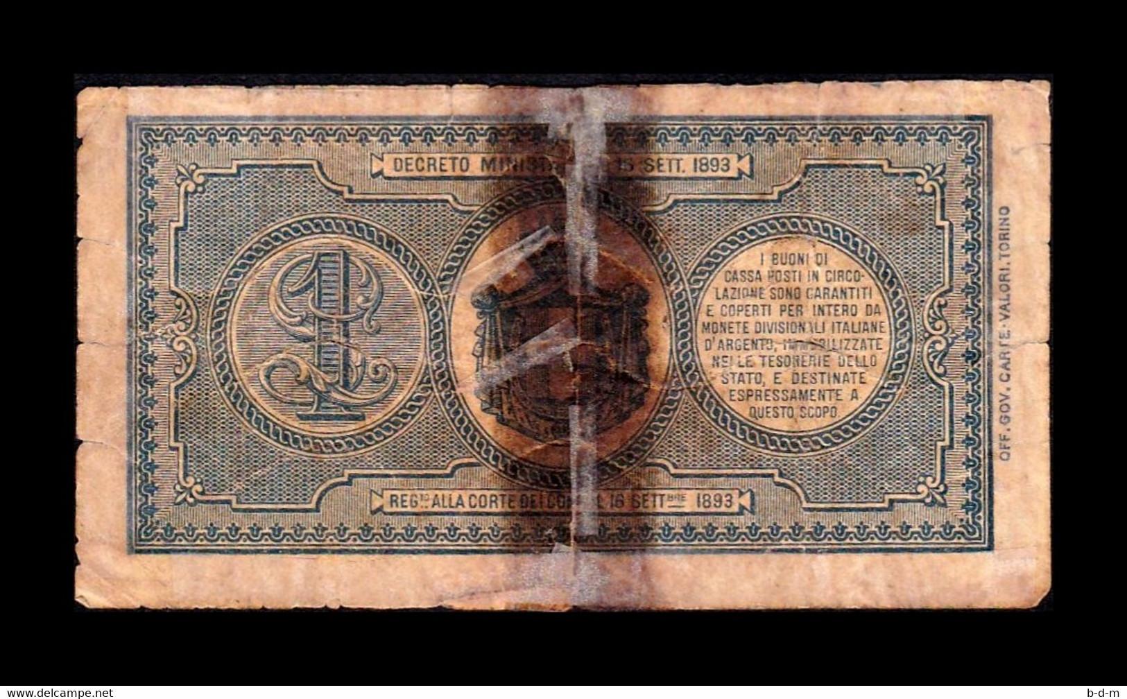 Italia Italy 1 Lire Royal Decree 1894 Pick 34 RC/BC P/G - Buoni Di Cassa