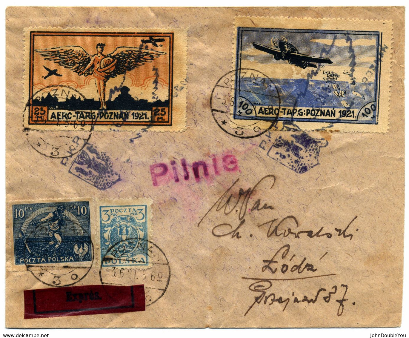 Registered And Express By Airmail From Poznan To Lodz June 3, 1921 - Storia Postale