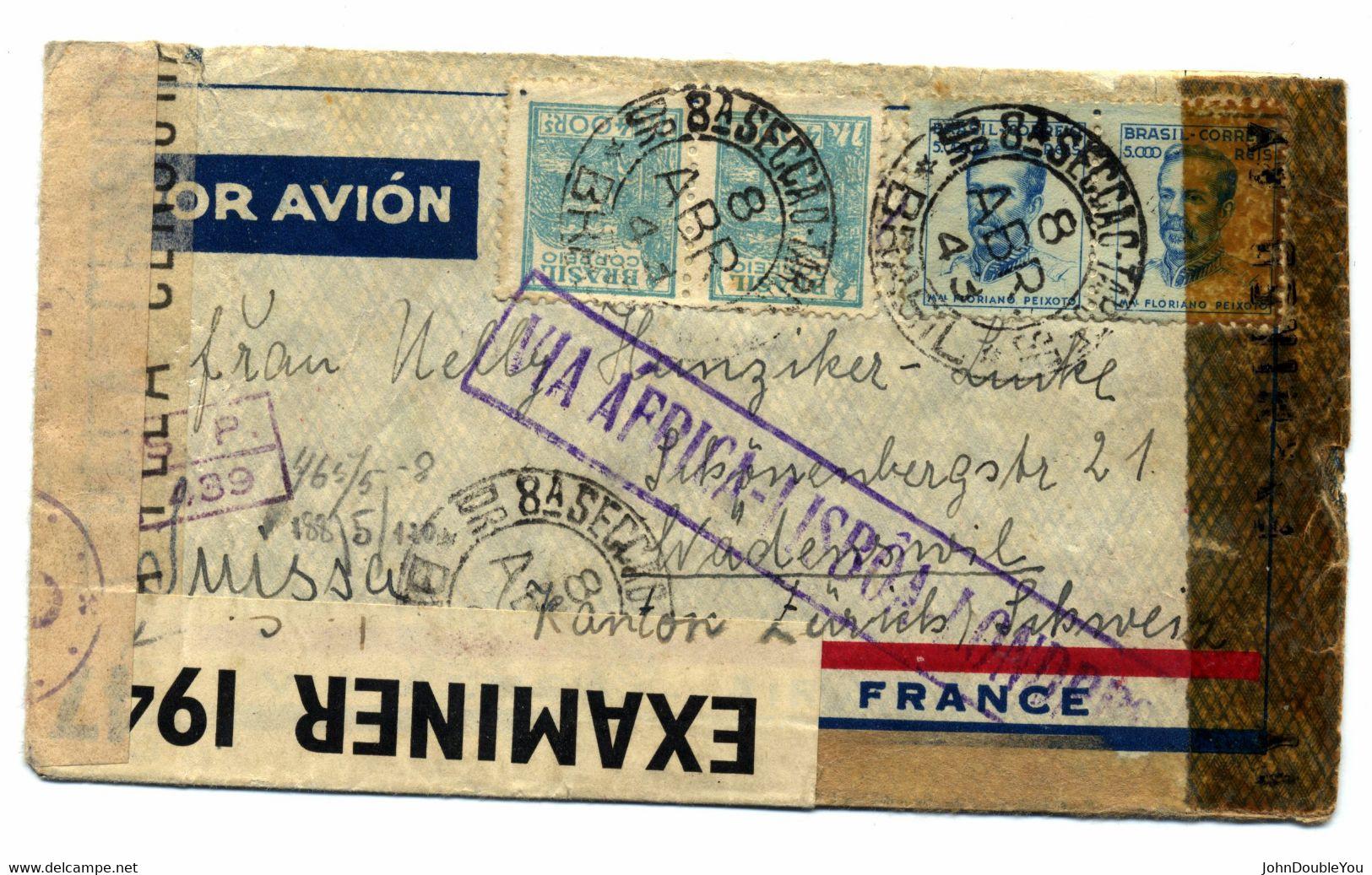 Luchtpost Brief Brazilië - Airmail Letter Brasil - Carta De Correio Aéreo 1943 - Storia Postale