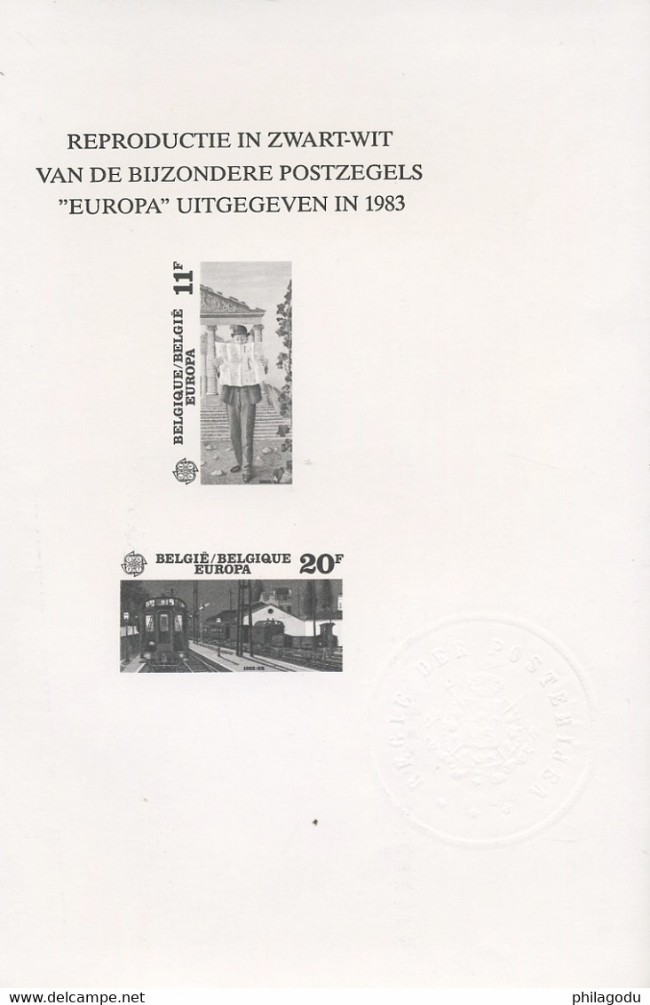 Europa 1983. PAUL DELVAUX. Gare De Nuit. Et Le Journal De La Bourse. NEDERLANDSE TEXT - Zwarte/witte Blaadjes