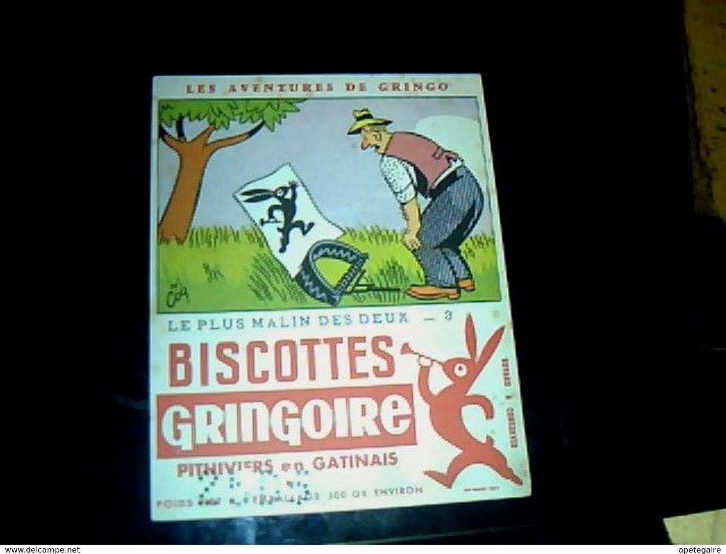 """Vieux Papier Publicité  Buvard Biscottes Gringoire Les Aventures De Gringo """" Le Plus Malin Des Deux """" - G"""