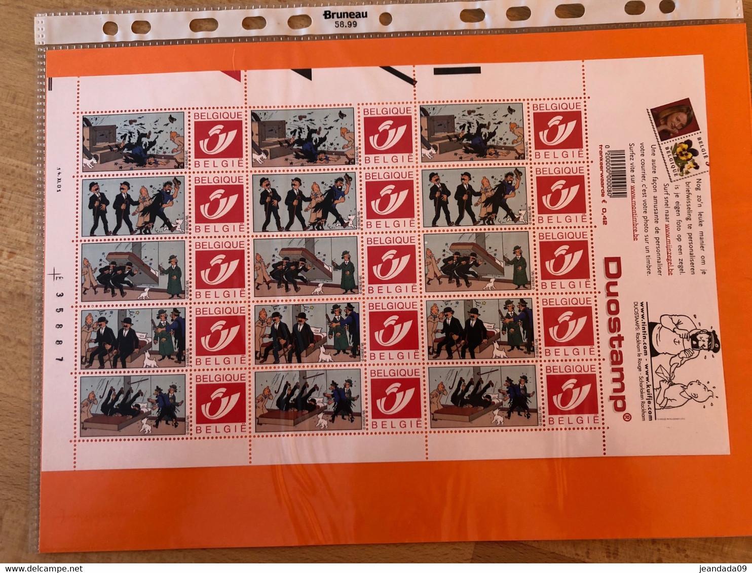 14-11-2001 DOSTAMP TINTIN Feuille De 15 Timbres Personnalisés Hergé Moulinsart 7 Les Dupont/Haddock/Tintin - Unused Stamps