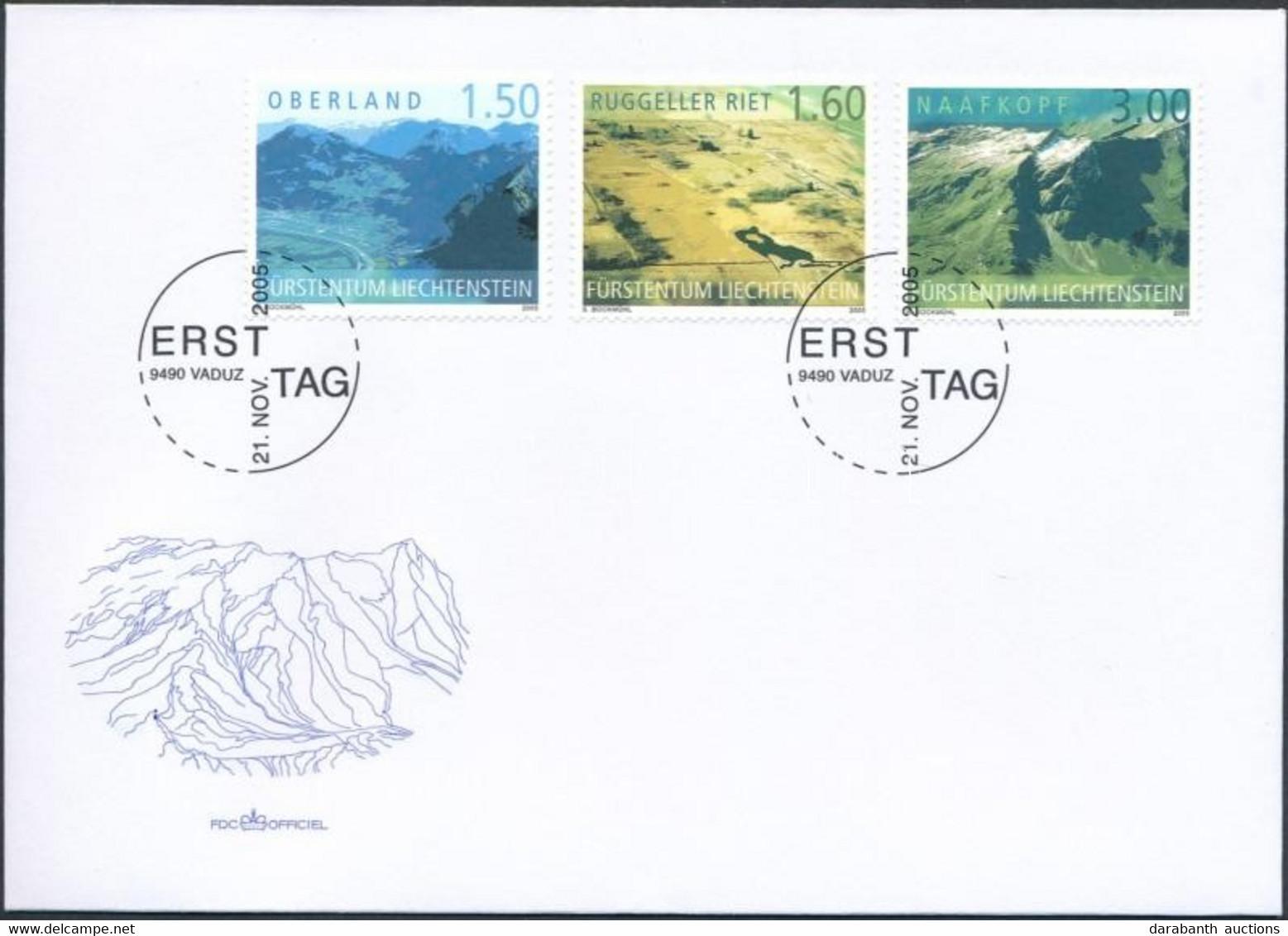 2005 Légi Felvételek Liechtensteinről Sor Mi 1397-1399 FDC - Non Classificati
