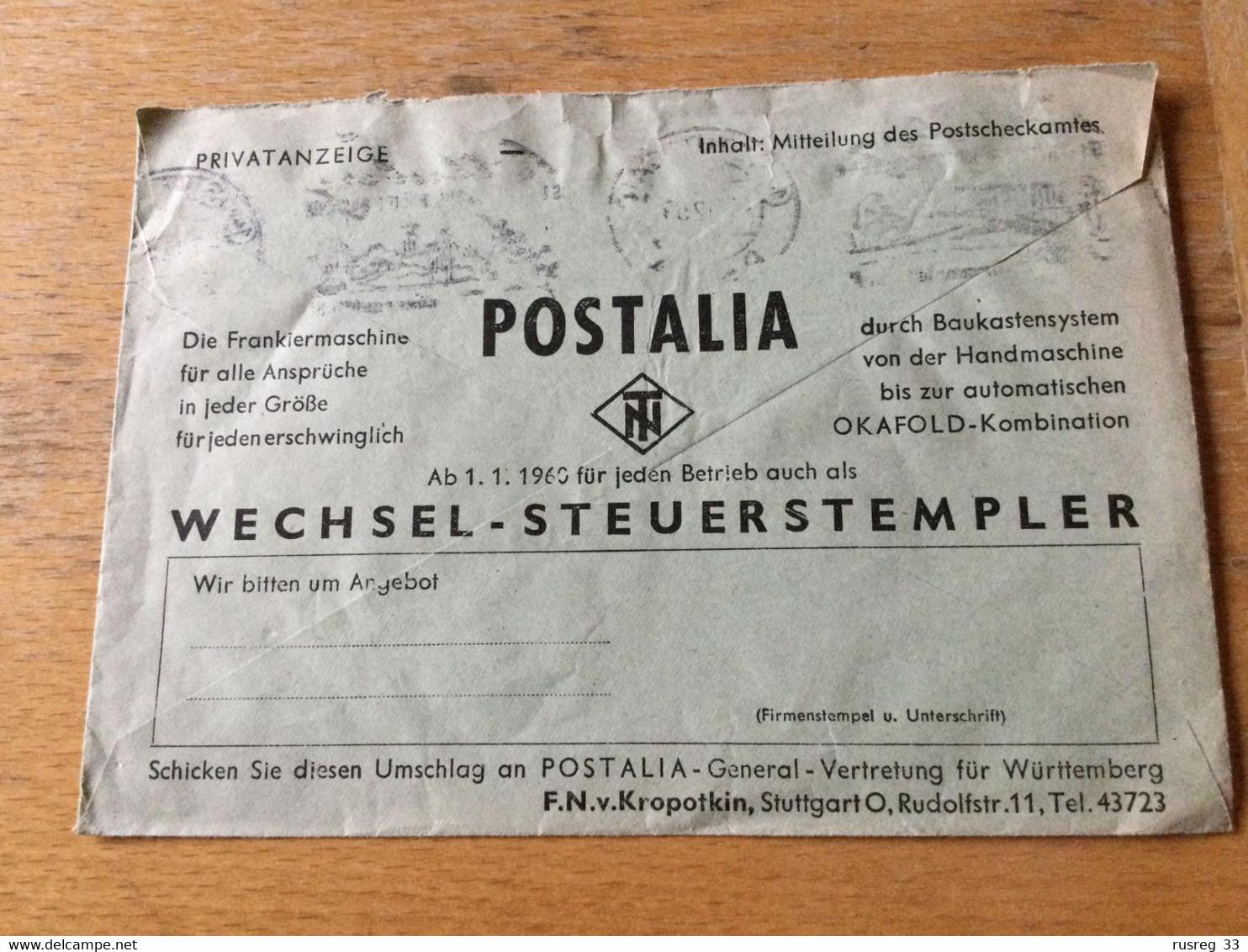 K13 BRD 1959 Brief Vom Postscheckamt Stuttgart Mit Mwst. Und Werbung Postalia Postautomatisation - Covers & Documents