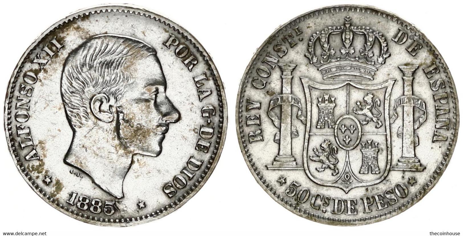 Philippines, Spanish Colony, 50 Centimos Silver 1885/0 Alfonso XII Right, KM 150, VF/XF - Non Classificati