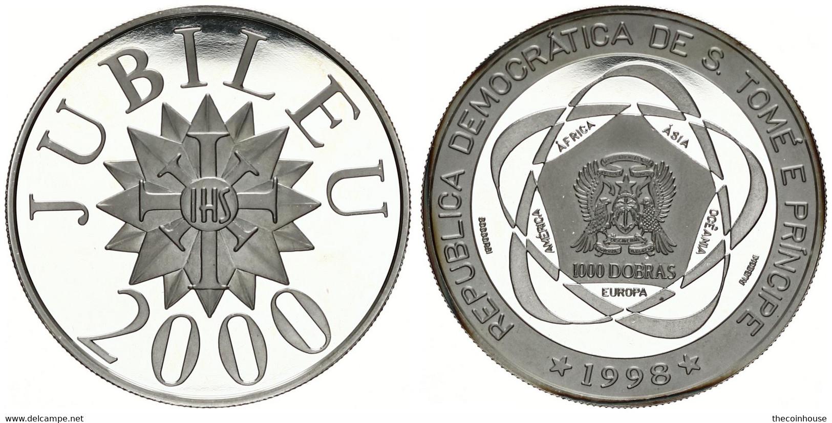 Saint Thomas & Prince, Democratic Republic, 1000 Dobras Silver 1998 Jubilee Year 2000, KM 132, SCARCE, Proof - Non Classificati