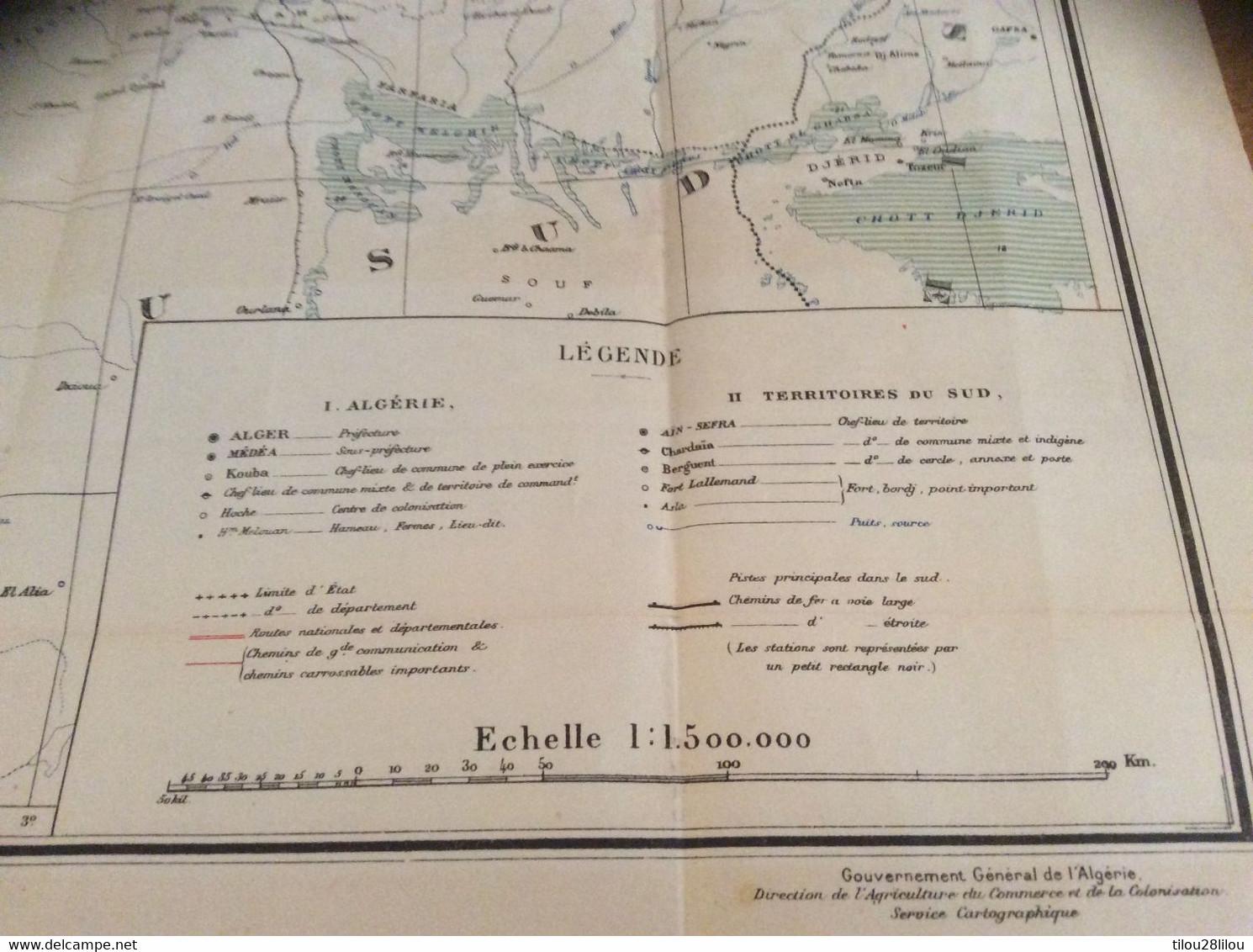 CARTE  COLONISATION DE LALGERIE 1930 - Mapas Geográficas