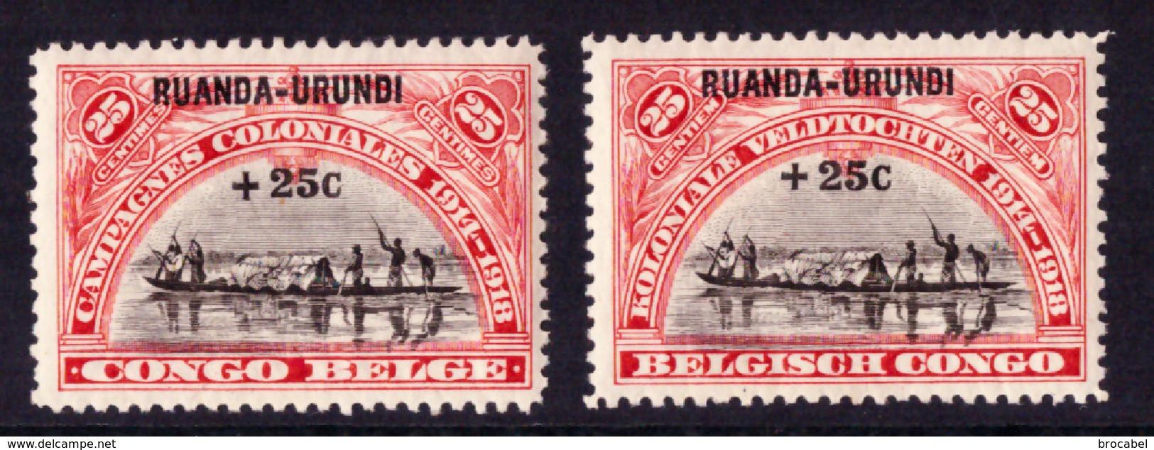 Ruanda 0077/78** Campagnes Coloniales - 1916-22: Neufs