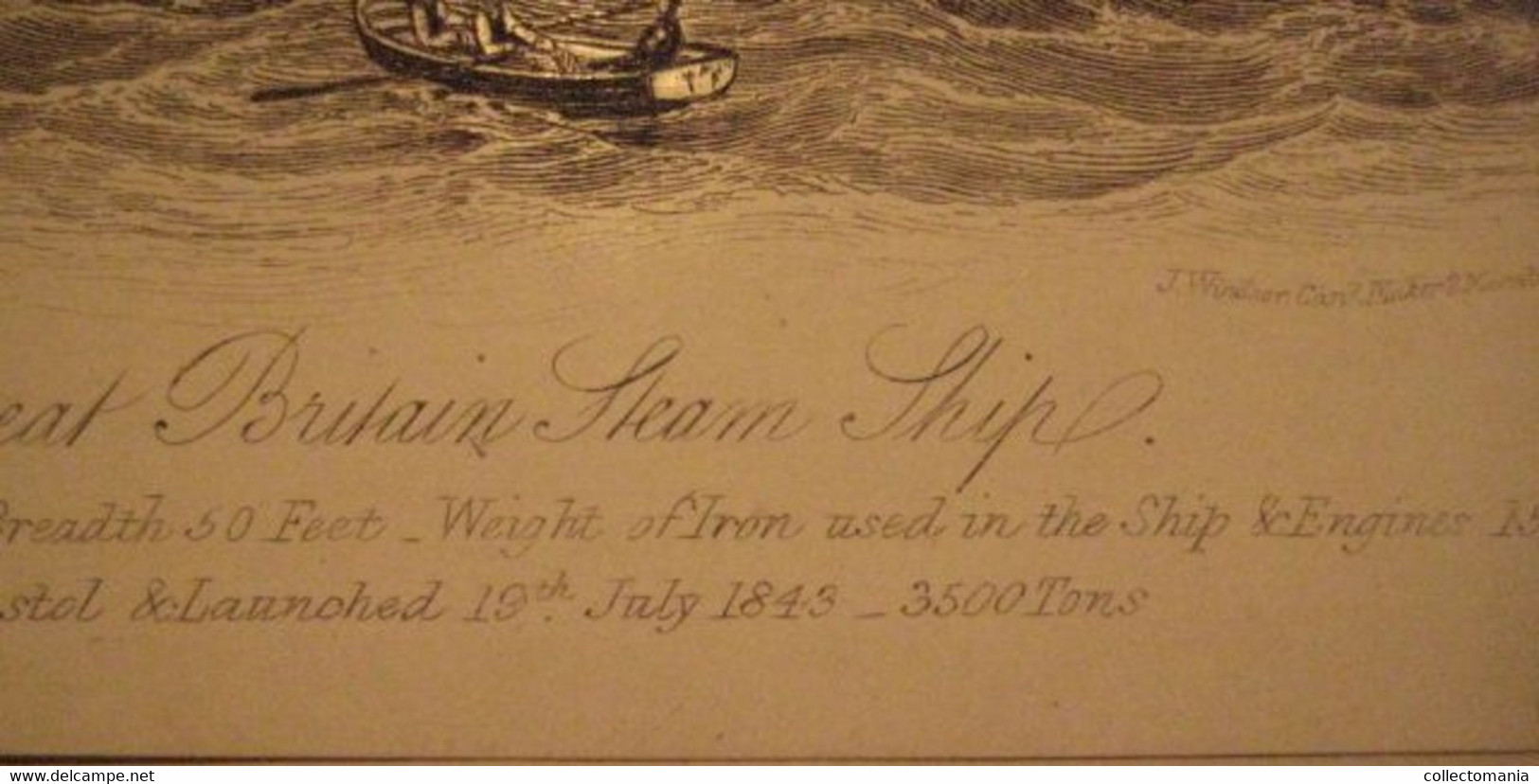 1 Card 1843 First Big CLIPPER SHIP,  The Great Britain Steam Ship - Lith. Wood London, Windsor Card Maker 15x 11,5cm - Sailing Vessels