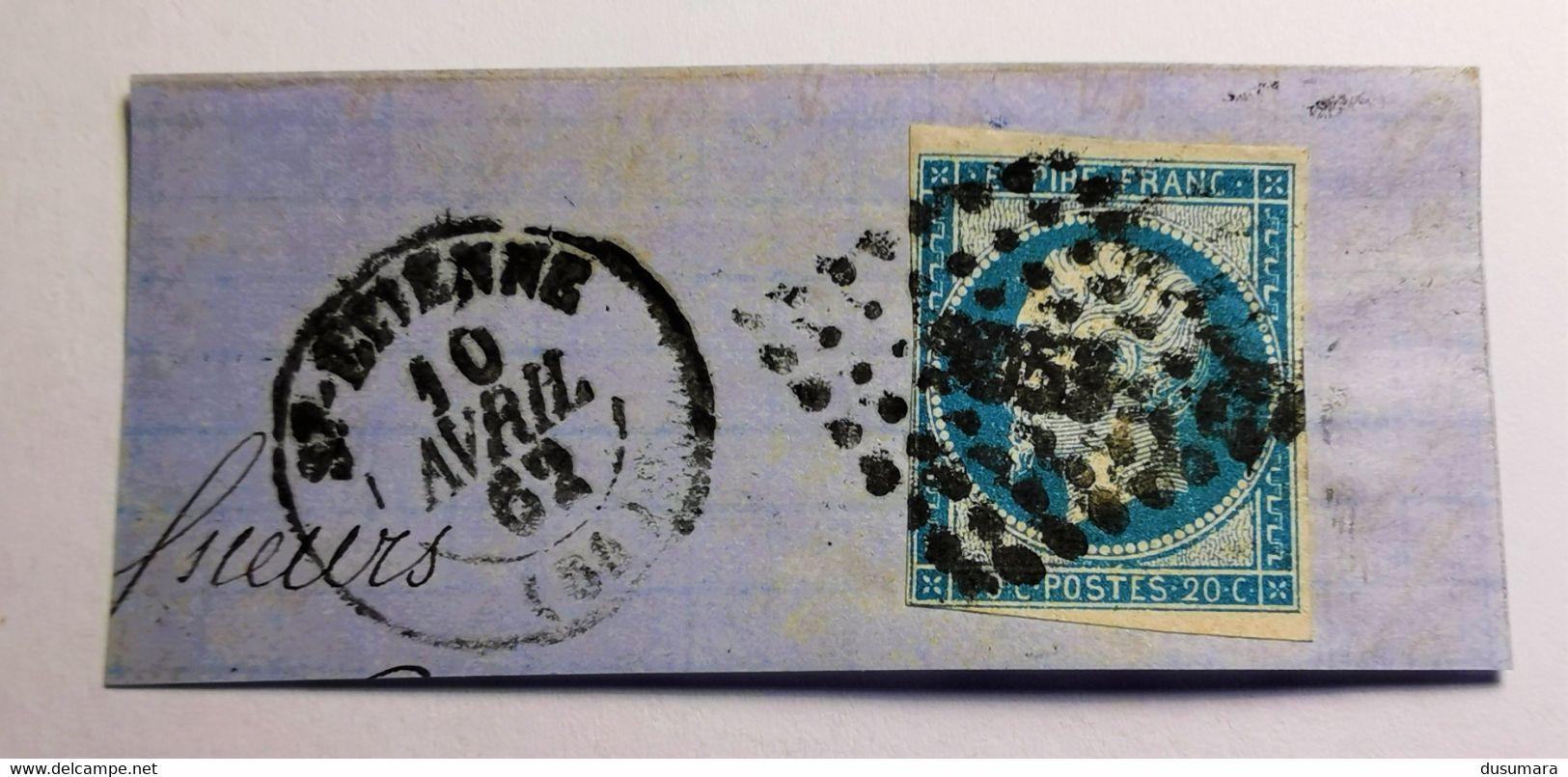 EMPIRE NON DENTELE, 1854, N° 14 Bleu Foncé (EXP: Oran)  Sur Fragment (TB-D-23-1) Oblit Oued El Hammam ALGERIE - 1853-1860 Napoléon III.