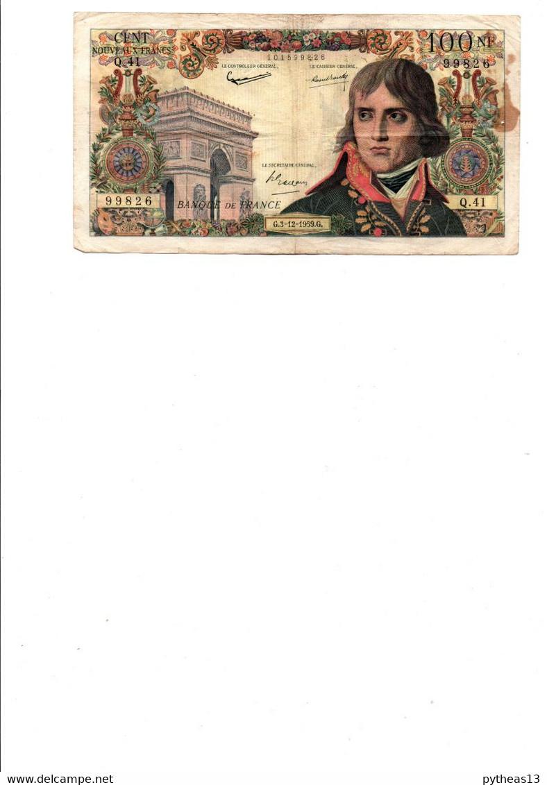 FRANCE 100NF BONAPARTE Du 3-12-1959, Quelques Trous D'épingle, Plis, Taches Et  Froissures - 100 NF 1959-1964 ''Bonaparte''