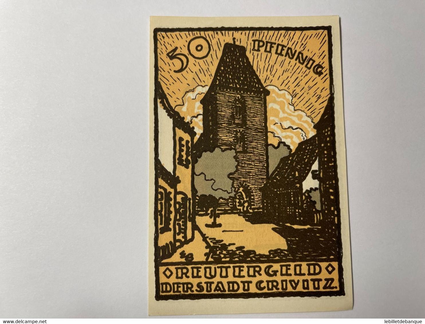 Allemagne Notgeld Crivitz 50 Pfennig - Collections