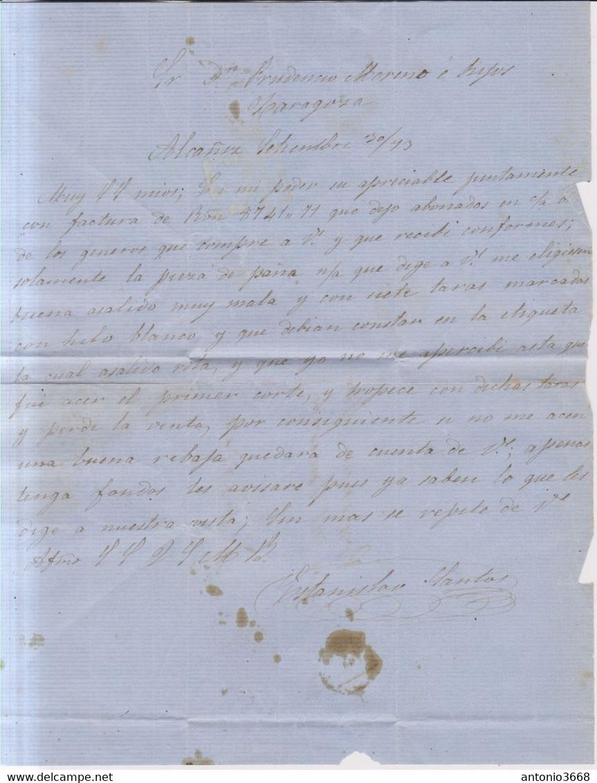 Año 1873 Edifil 133 10c Alegoria Carta Membrete Alcañiz Teruel  Estanislao Santos - Cartas