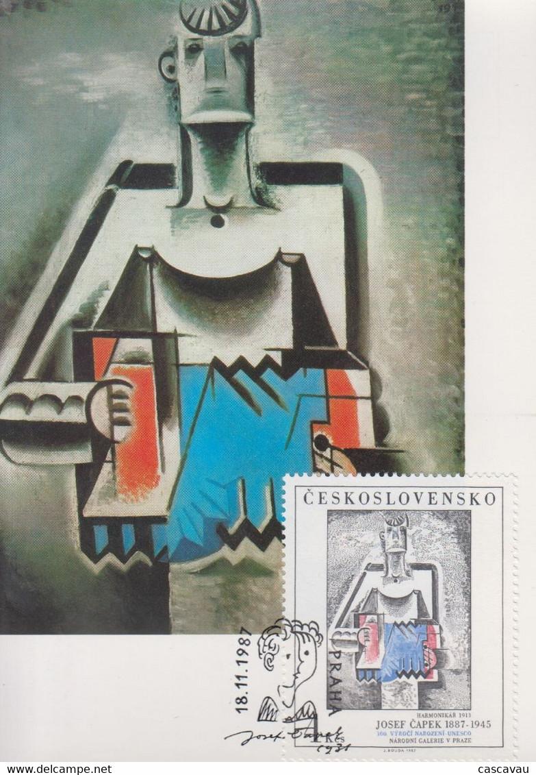 Carte  Maximum  1er  Jour    TCHECOSLOVAQUIE    Oeuvre  De    CAPEK    1987 - Sin Clasificación