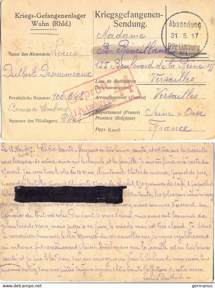 GUERRE 14-18 CP DE PRISONNIER FRANÇAIS CAMP De WAHN GEPRUFT 44 LIMBURG 5-1917 => VERSAILLES SENE ET OISE – BARRÉ/CENSURE - Guerre De 1914-18