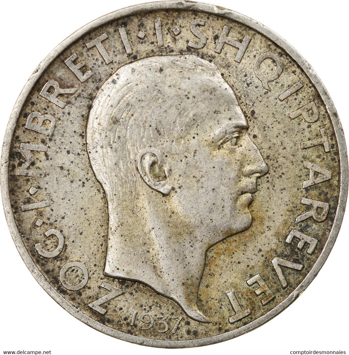 Monnaie, Albania, Zog I, Frang Ar, 1935, Rome, TTB, Argent, KM:16 - Albania