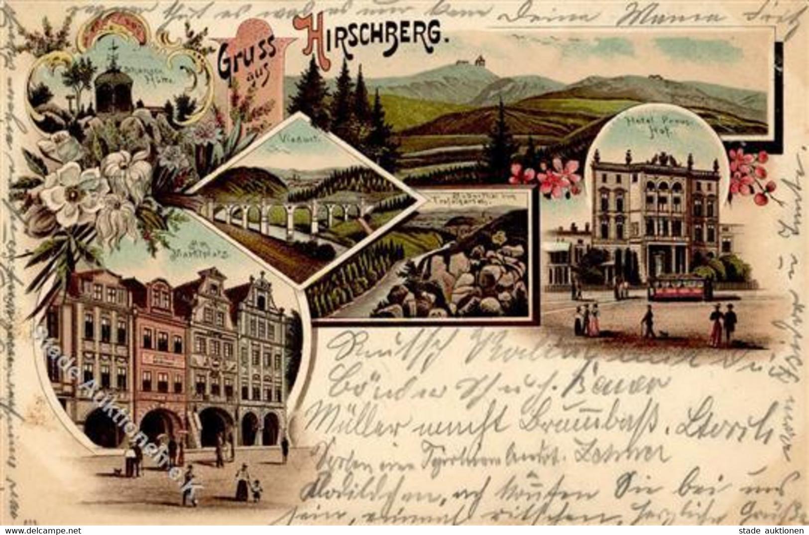 Hirschberg Im Riesengebirge Hotel Preussischer Hof  Lithographie 1898 I- - Polonia