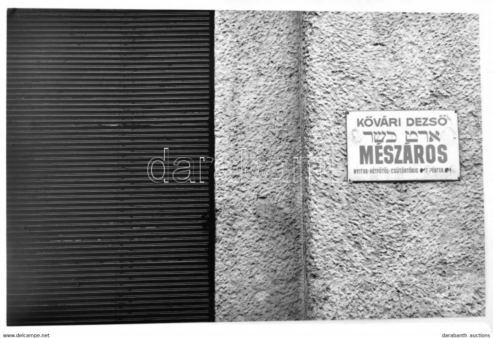 Kővári Dezső (?-2005) Zsidó Kóser Mészáros Magyar és Héber Nyelvű (Bp., Dob Utcai?) Cégtáblája, Jelzés Nélküli Fotó, Job - Non Classificati