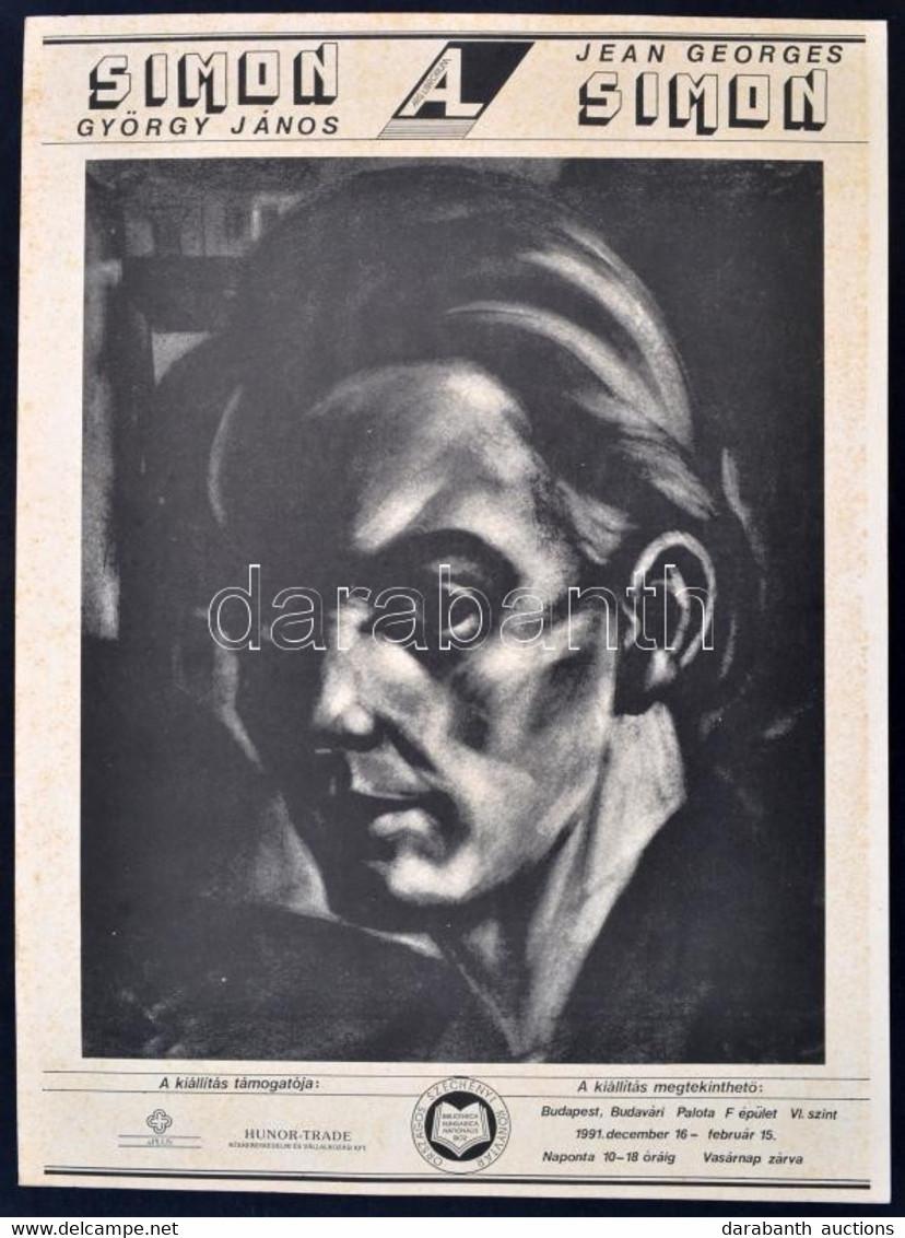 1991 Simon György János/Jean-Georges Simon (1894-1968), Bp., OSZK, Kétoldalas Kiállítási Plakát, A Hátoldalán Kétnyelvű  - Unclassified